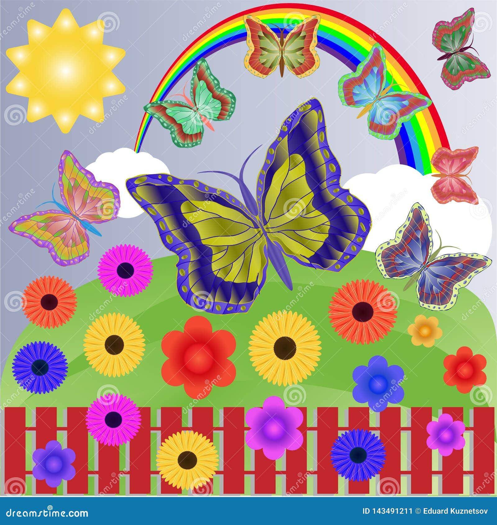 Día soleado del verano con un arco iris, las nubes, las mariposas y las flores