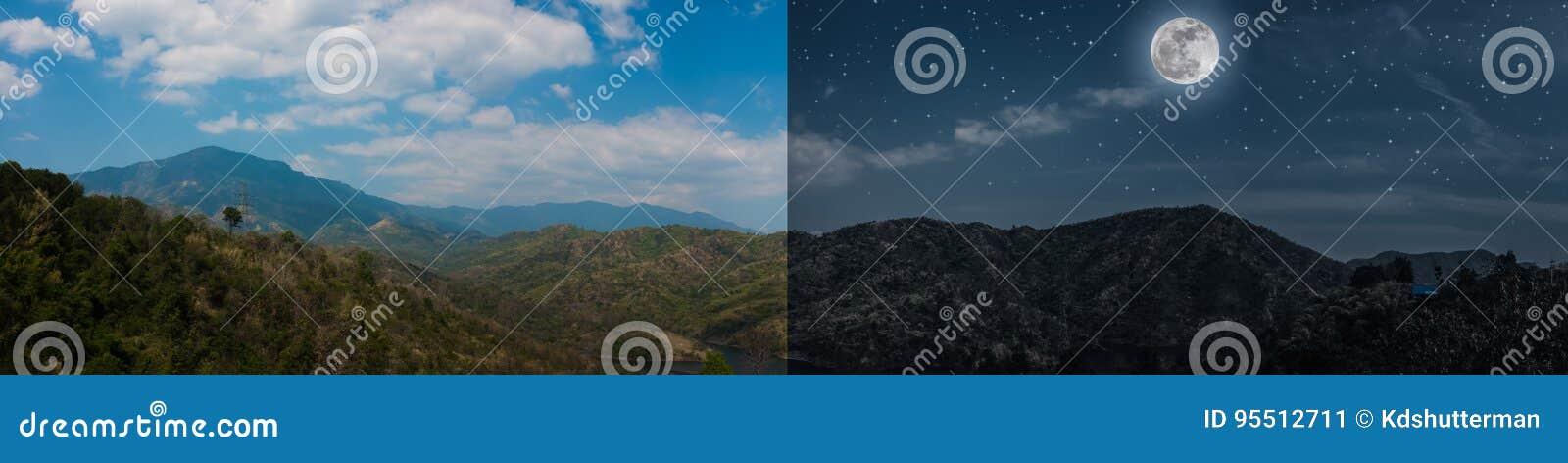 Día y noche concepto de imagen panorámica del paisaje del verano de montañas