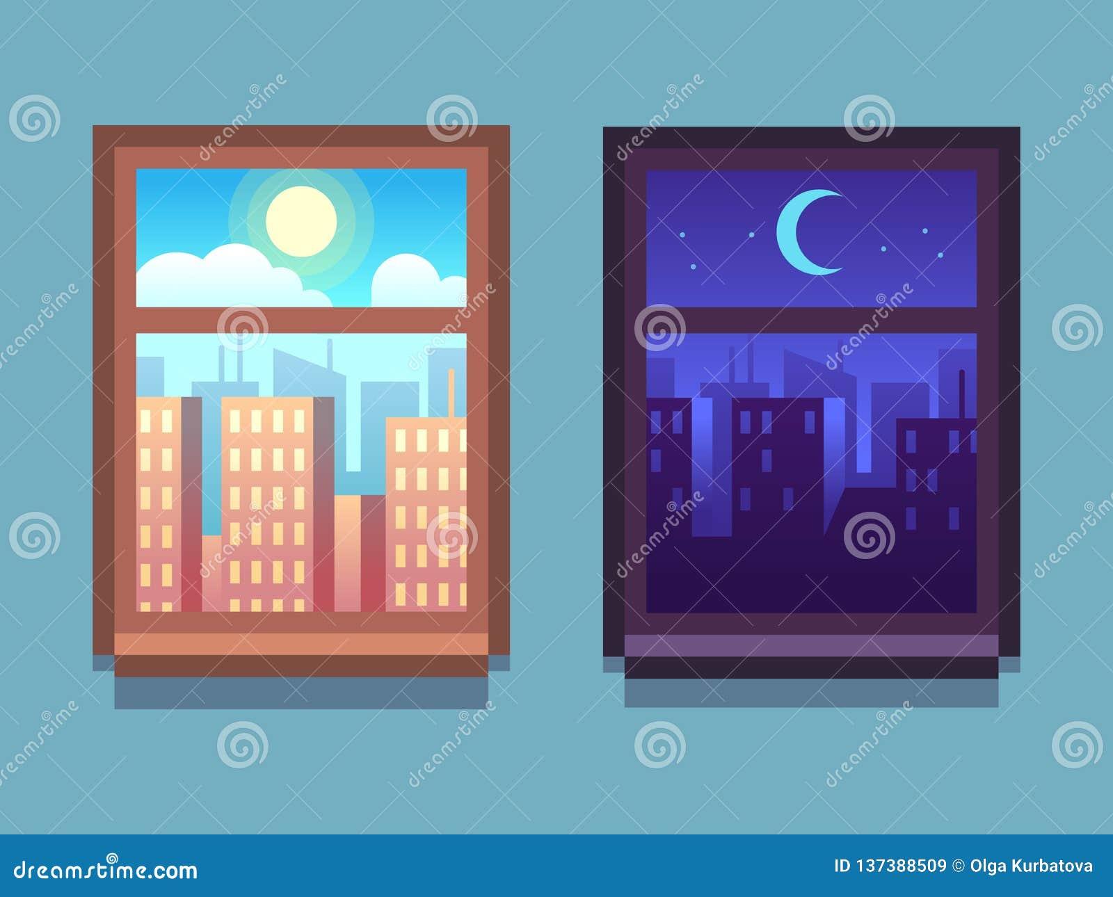 Día y noche ventana Rascacielos de la historieta en la noche con la luna y las estrellas, en el día con el sol dentro de las vent