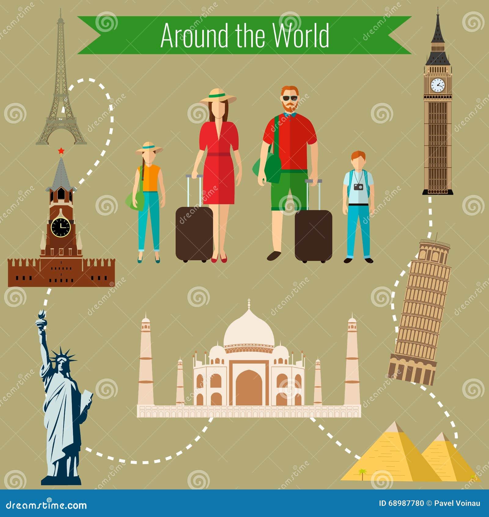 Días de fiesta de la familia Países de la plantilla del diseño del logotipo del mundo Viaje, turismo, icono de la señal Vector