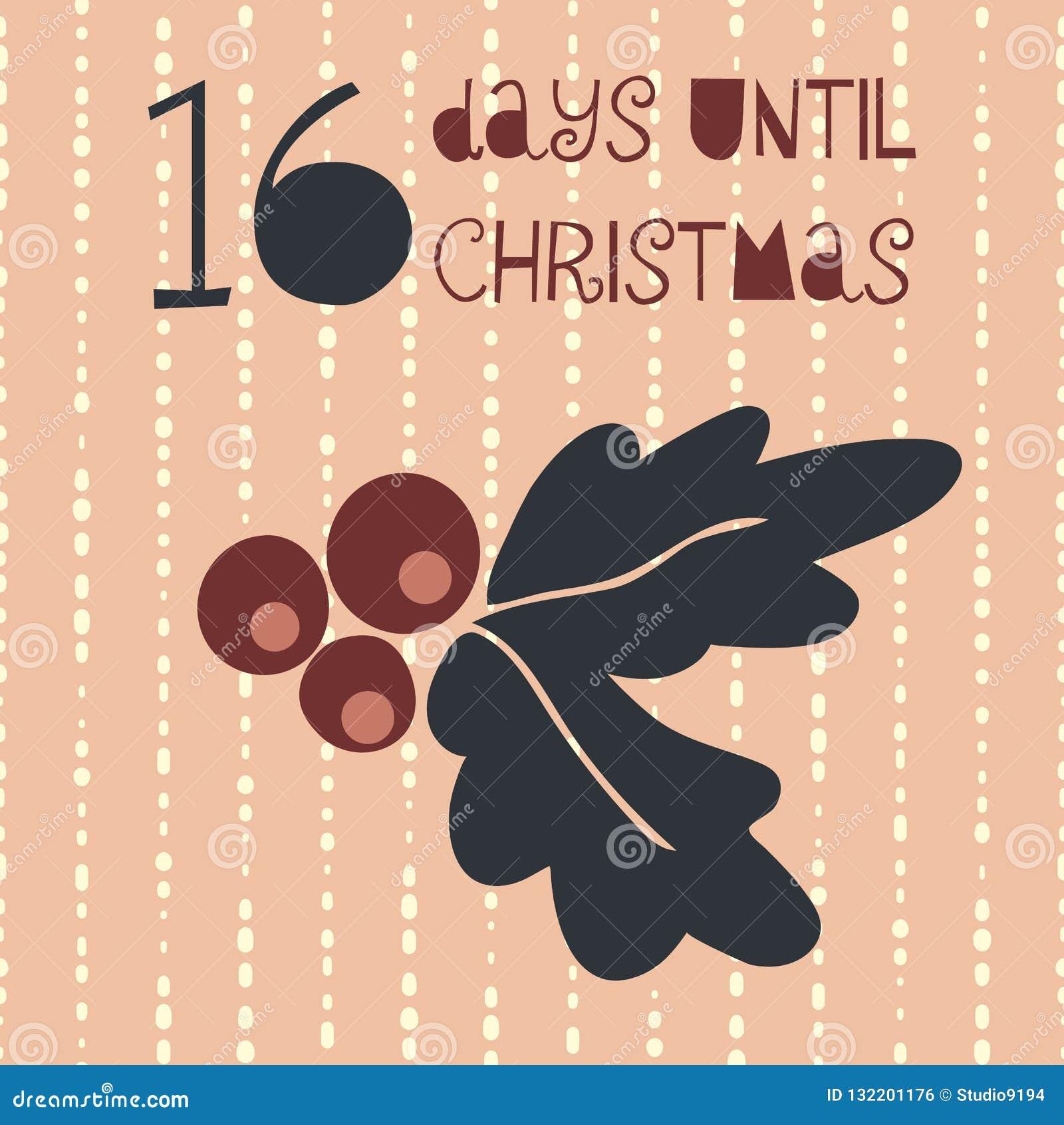 16 días hasta el ejemplo del vector de la Navidad Cuenta descendiente de la Navidad dieciséis días hasta Papá Noel Estilo escandi