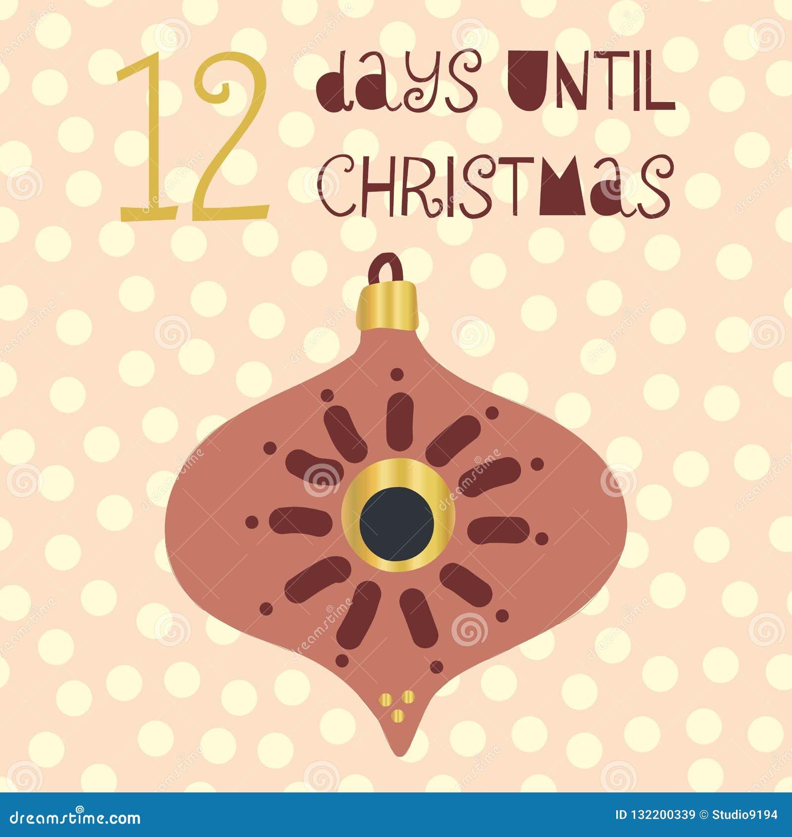 12 días hasta el ejemplo del vector de la Navidad Cuenta descendiente de la Navidad doce días hasta Papá Noel Estilo escandinavo