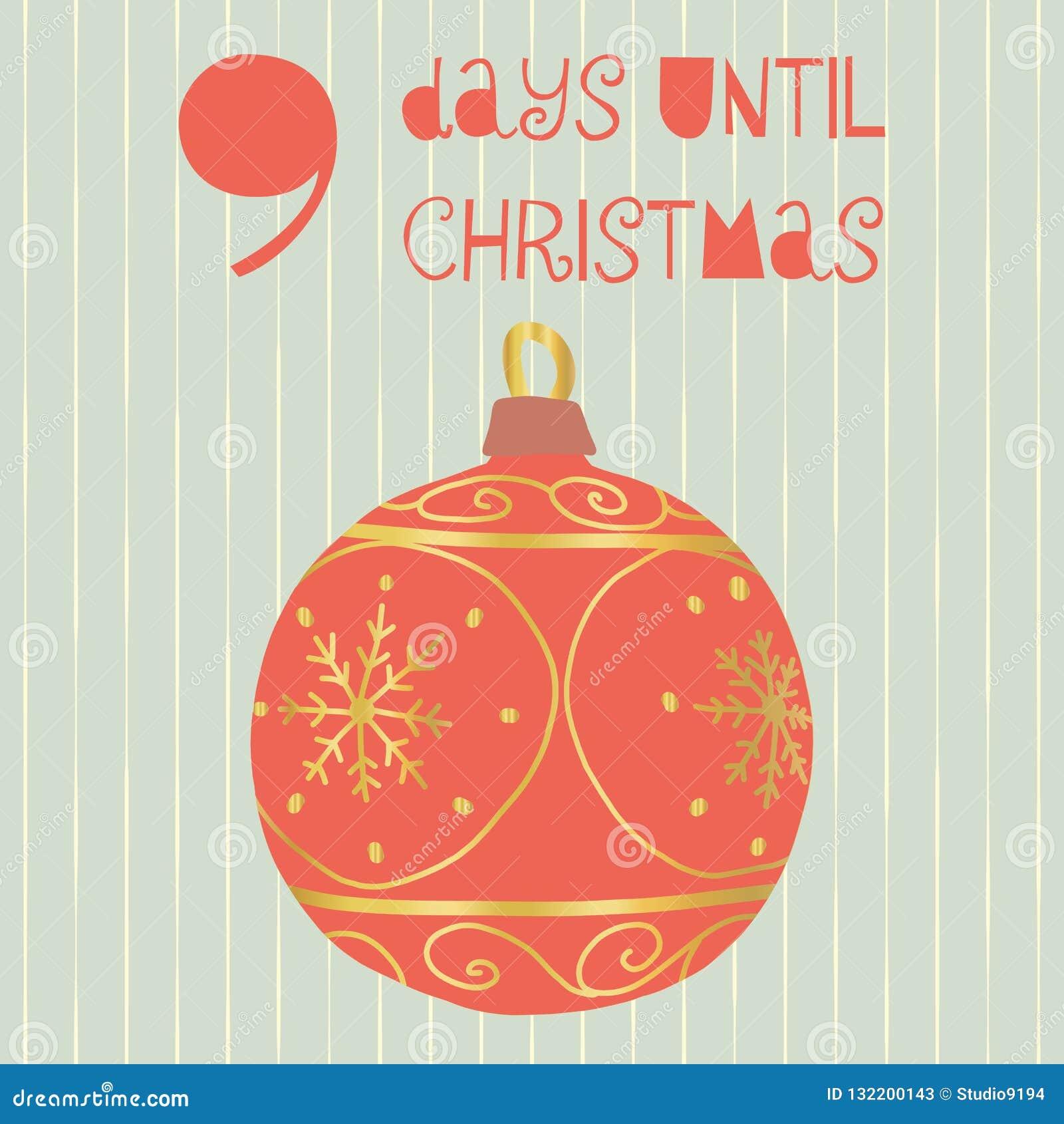 9 días hasta el ejemplo del vector de la Navidad Cuenta descendiente de la Navidad nueve días hasta Papá Noel Estilo escandinavo