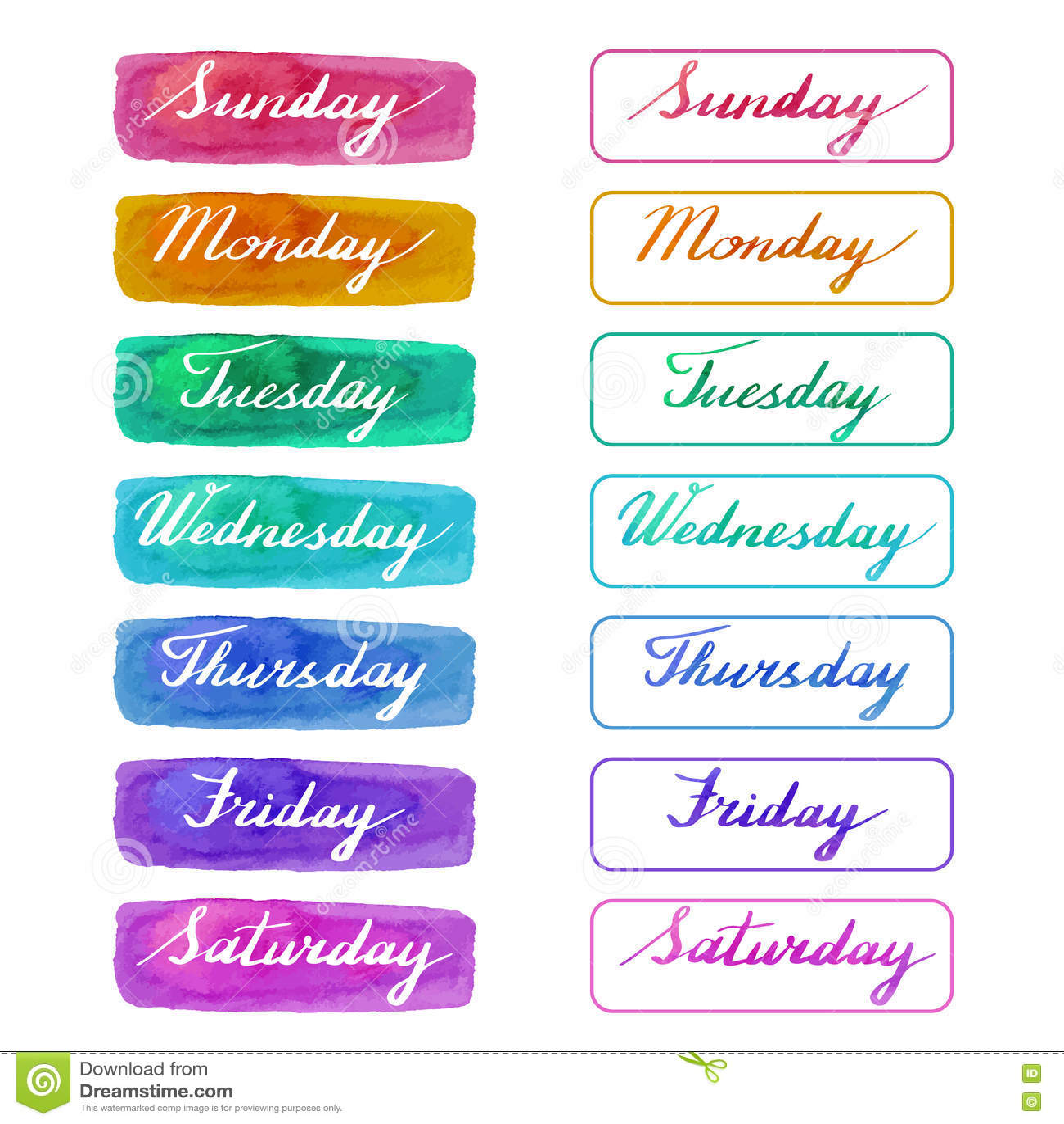 Días manuscritos de la semana