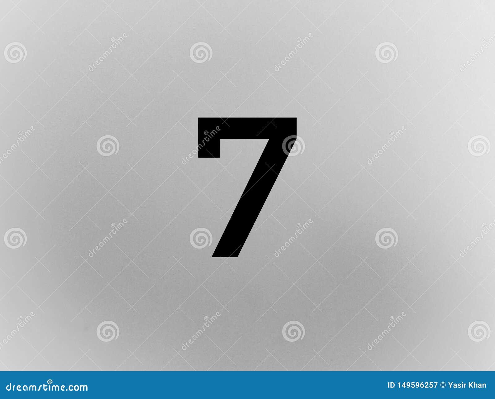 Dígito sete número 7 na cor preta