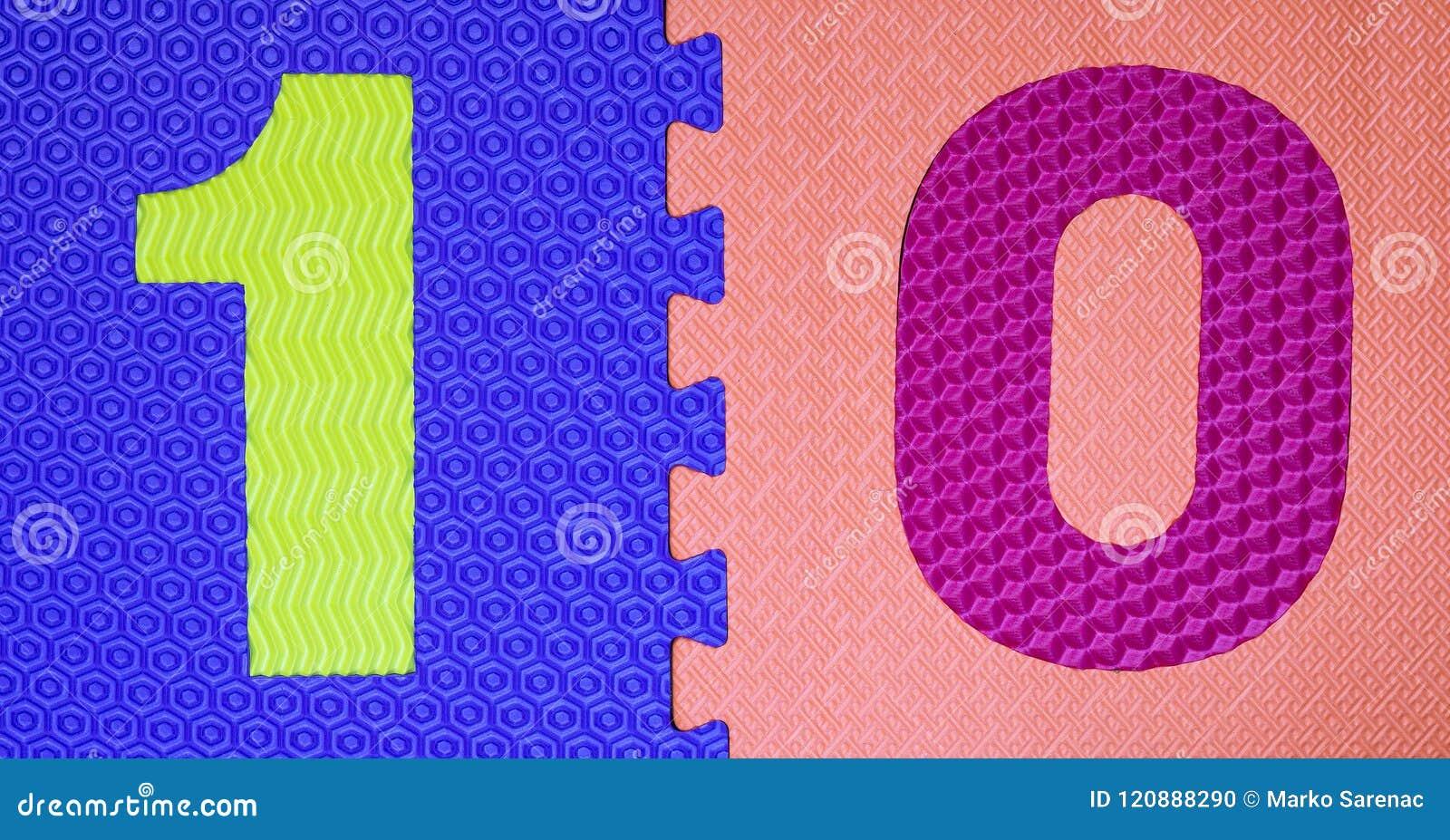 Dígitos de goma multicolores 5