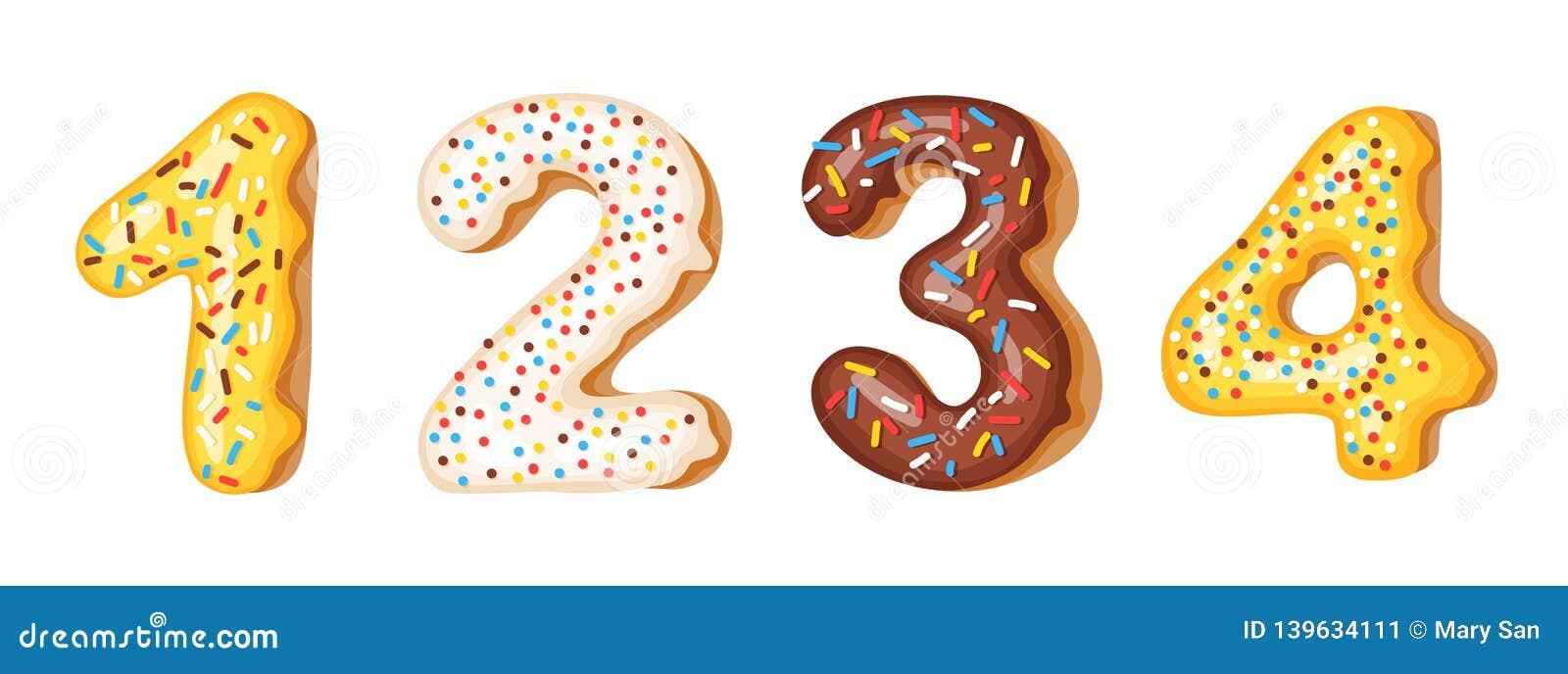 Dígitos dos números da crosta de gelo da filhós - 1, 2, 3, 4 Fonte de anéis de espuma Alfabeto doce da padaria Últimos que do alf