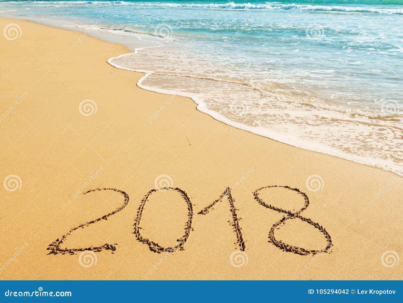 Dígitos 2018 na areia