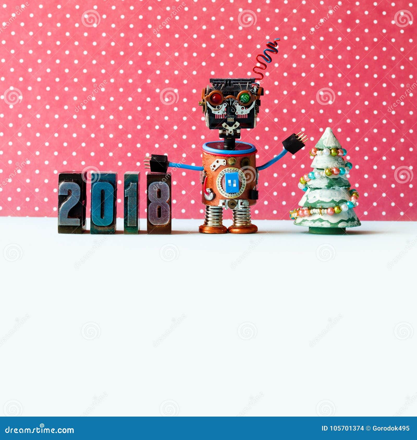 Dígitos 2018, teste padrão amigáveis da tipografia do robô vermelho do fundo do ponto Cartaz criativo do xmas do ano novo do proj