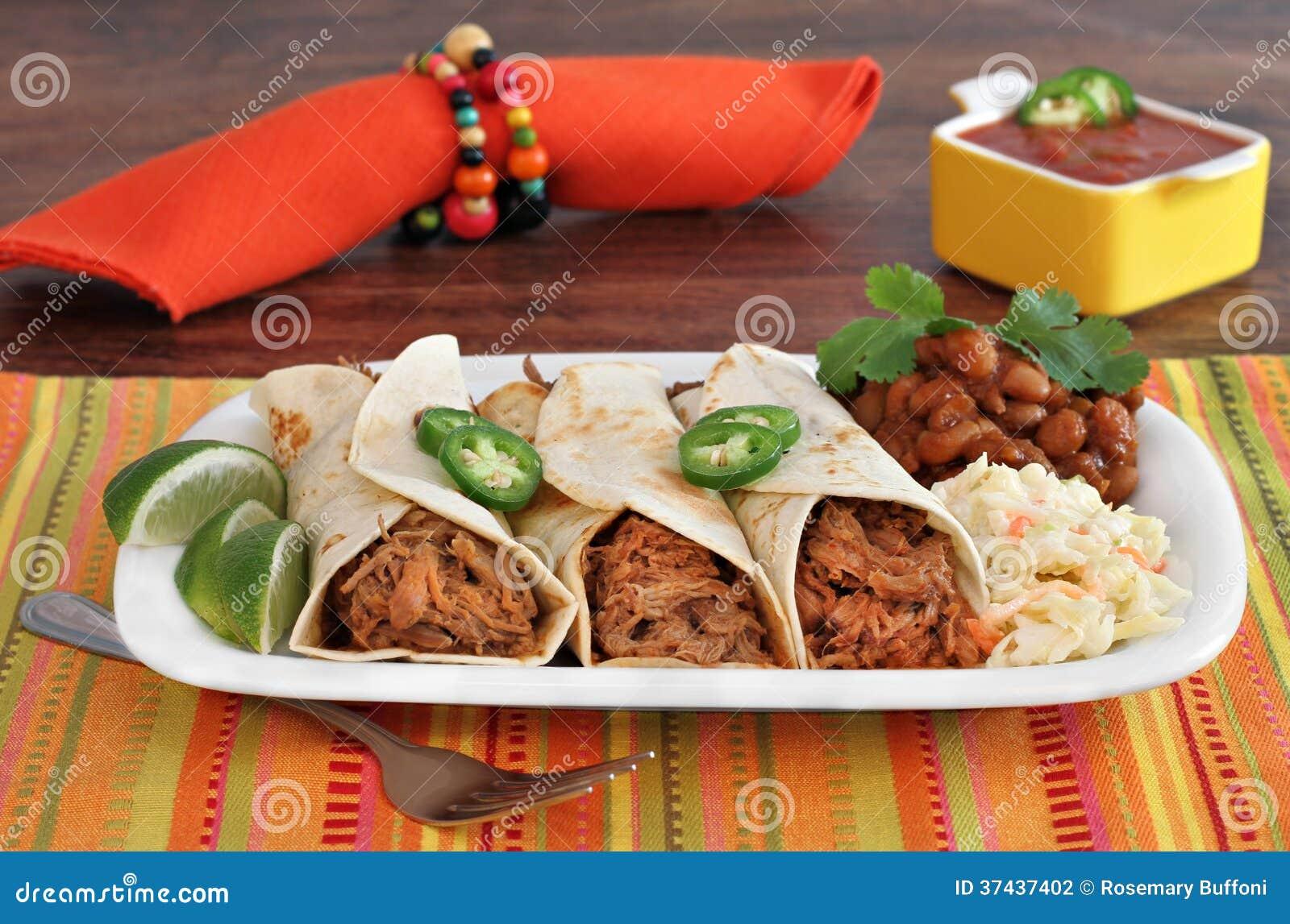 Dîner tiré de Burrito de porc