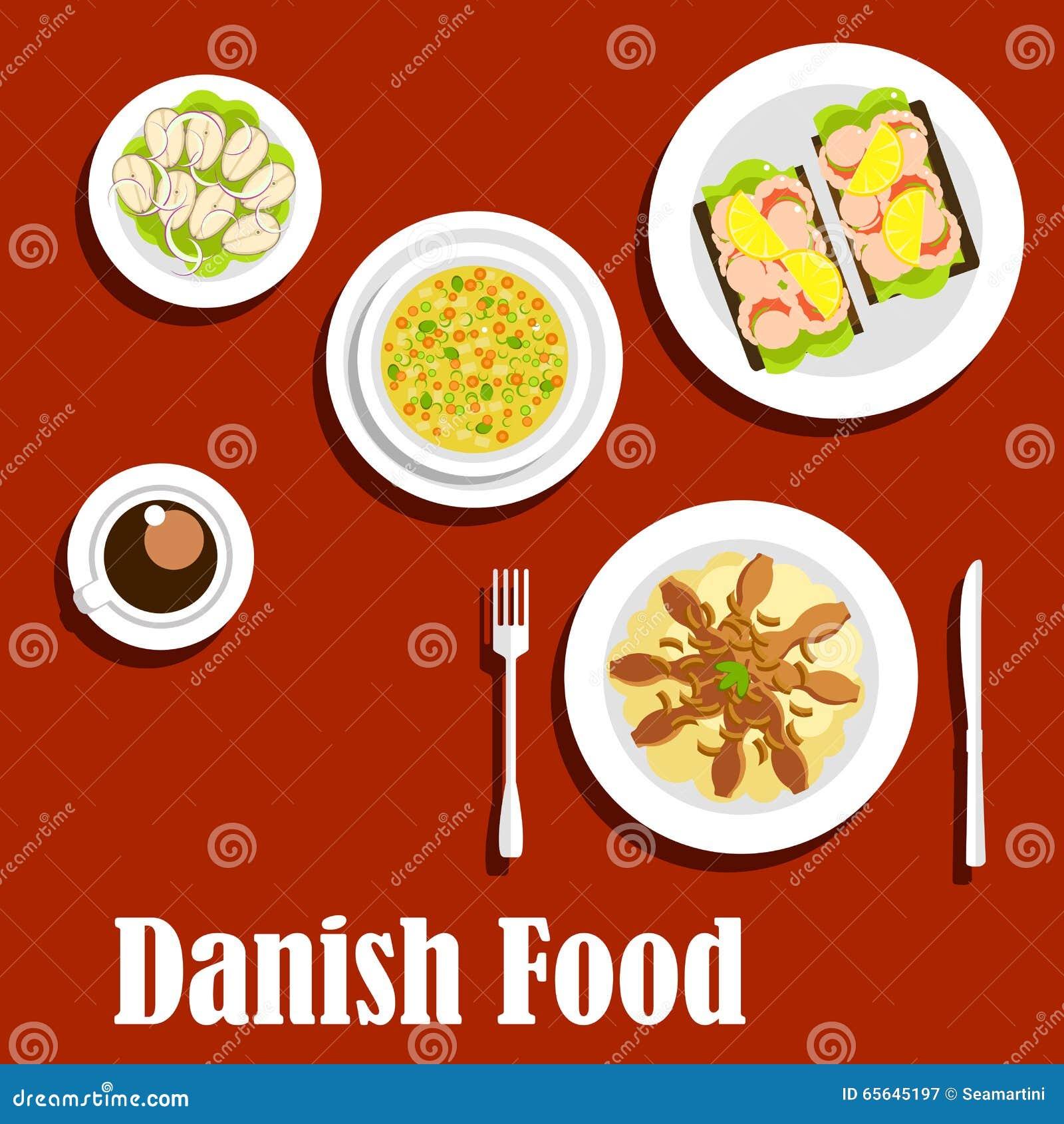 Dîner traditionnel de cuisine danoise