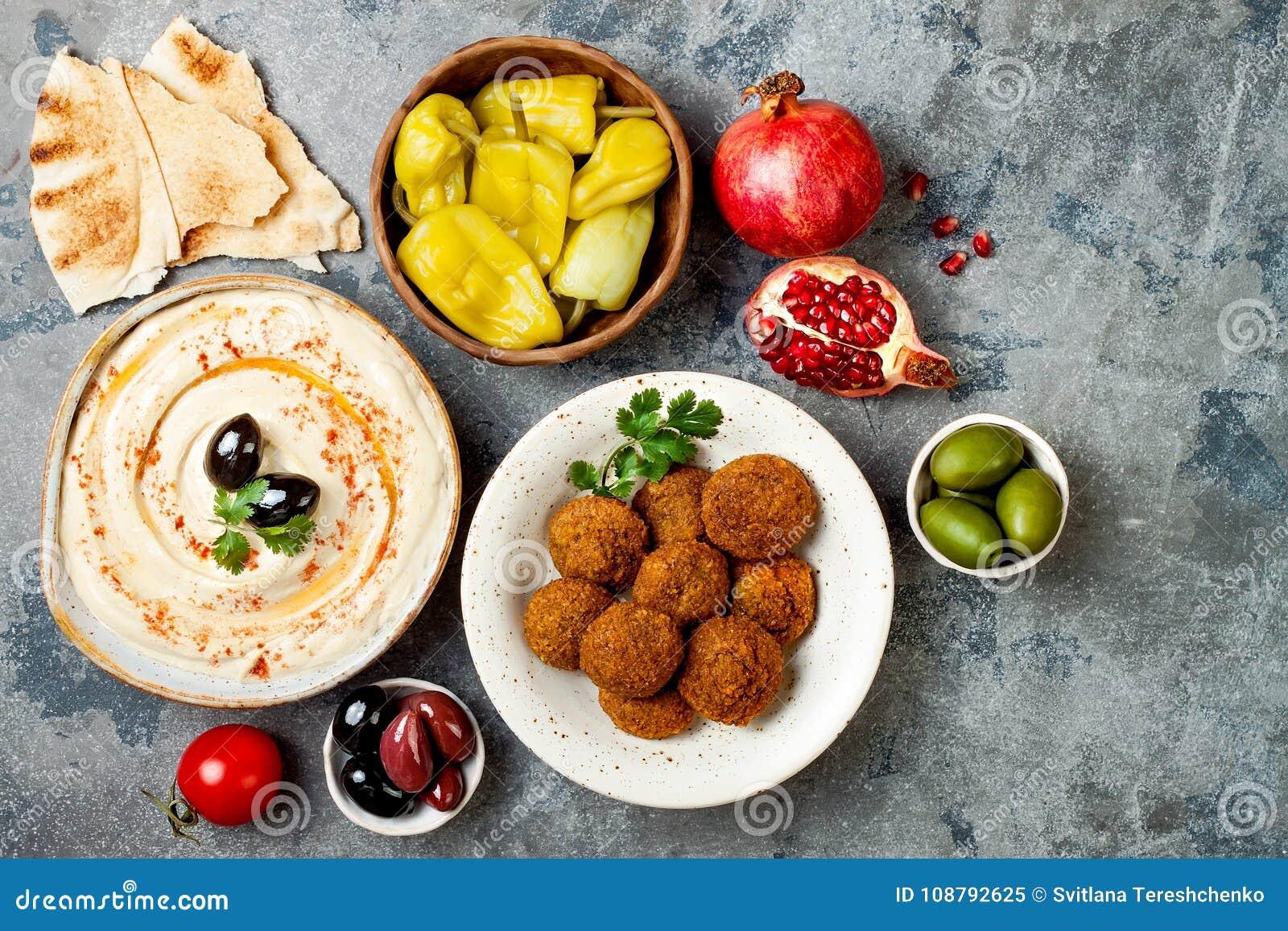 Dîner traditionnel du Moyen-Orient Cuisine arabe authentique Nourriture de partie de Meze Vue supérieure, configuration plate, aé