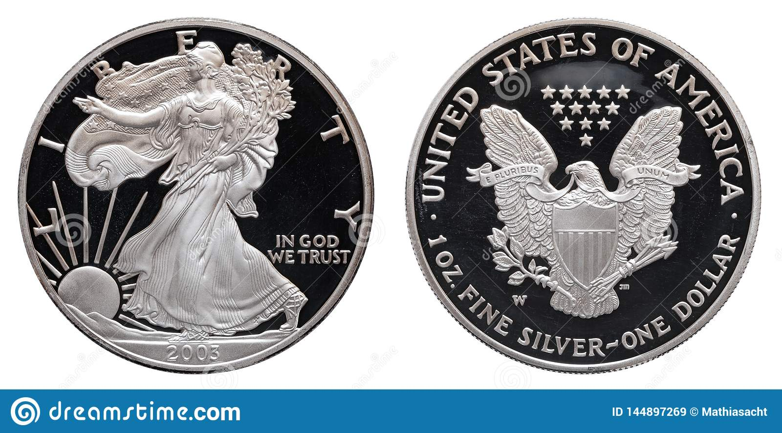Dólar de prata americano da águia isolado no fundo branco