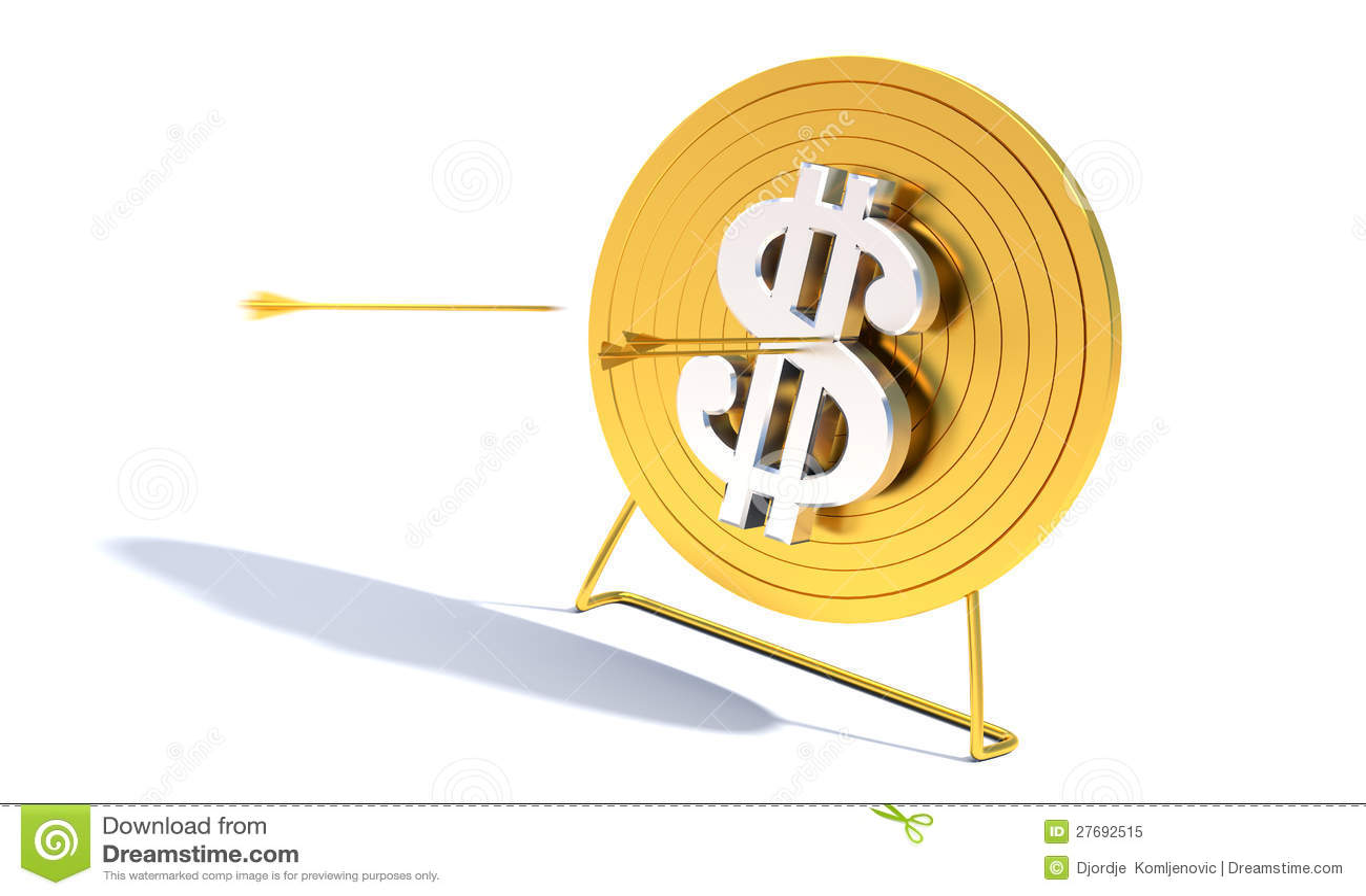 Dólar dourado do alvo do tiro ao arco