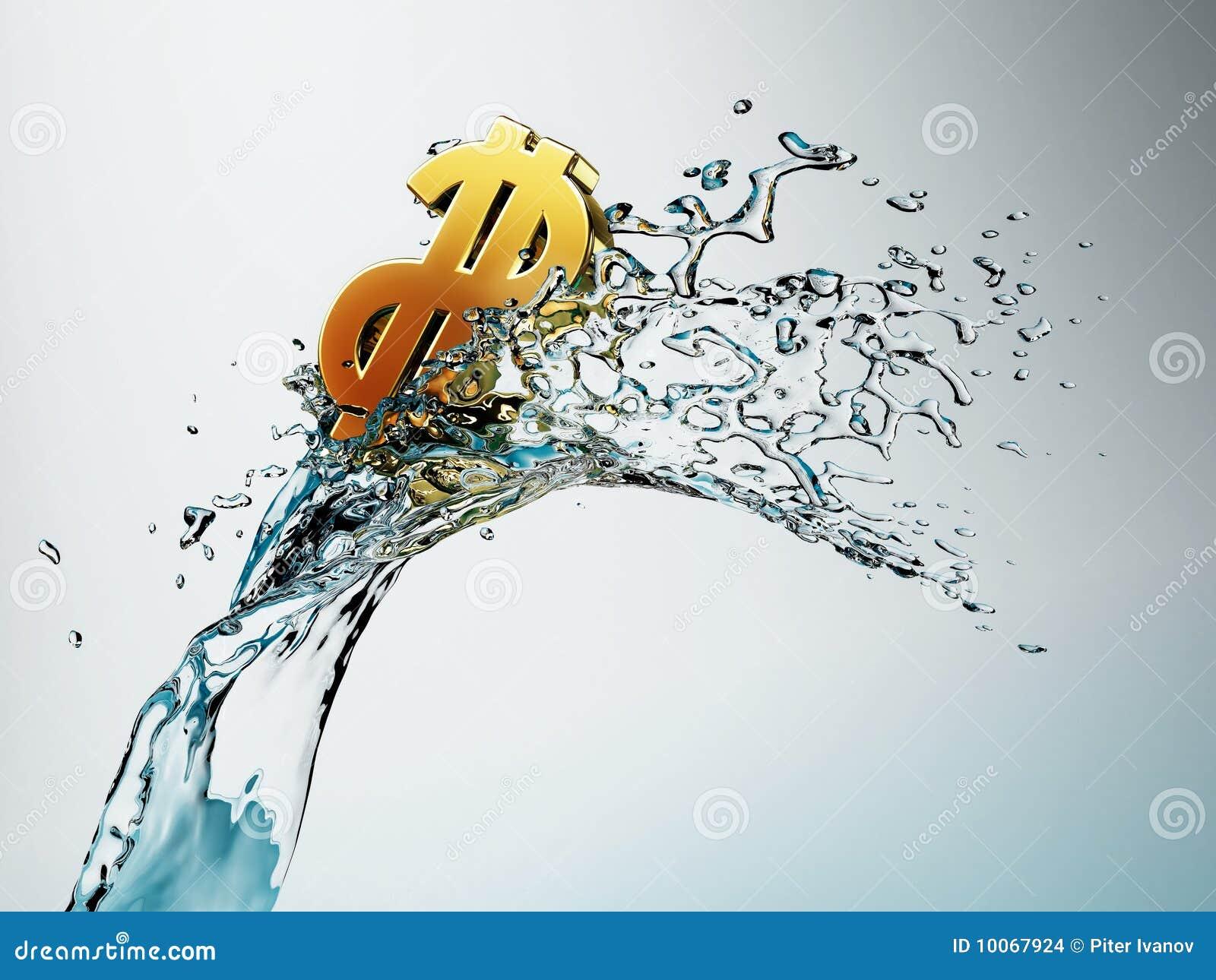 Dólar dourado na onda