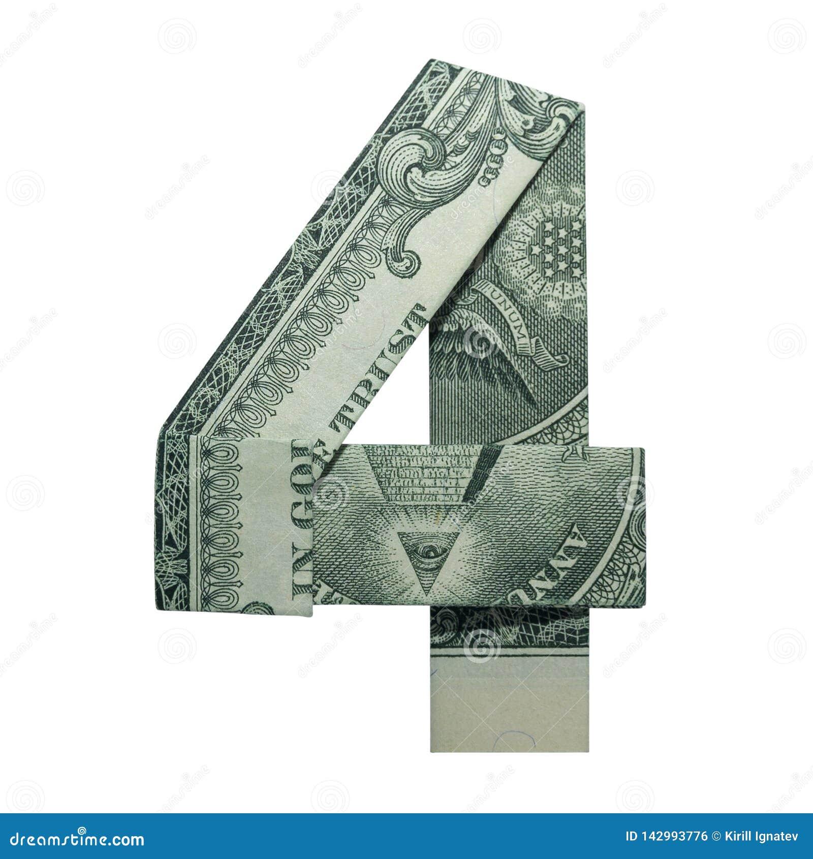Dólar real Bill Isolated do número do DÍGITO 4 do origâmi do dinheiro um no fundo branco