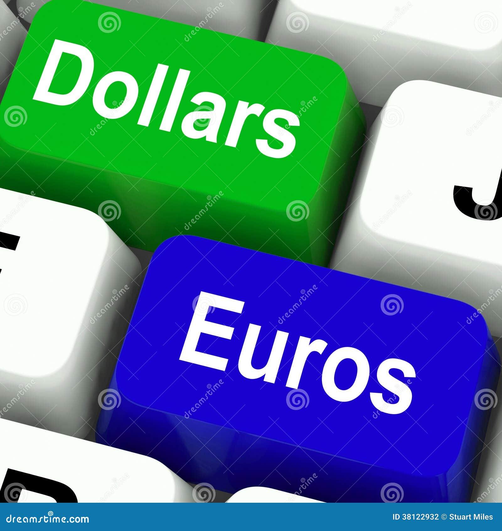 Dólar y Euros Keys Mean Foreign Currency
