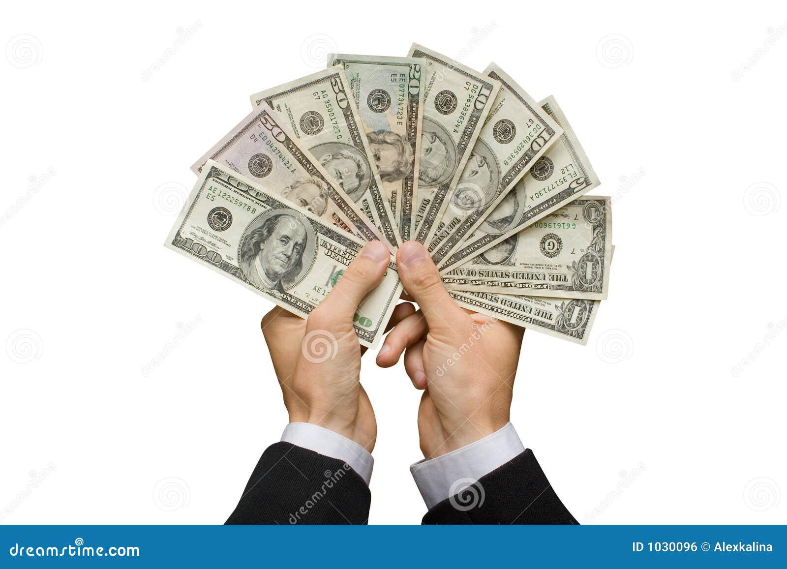 Dólares americanos no mãos