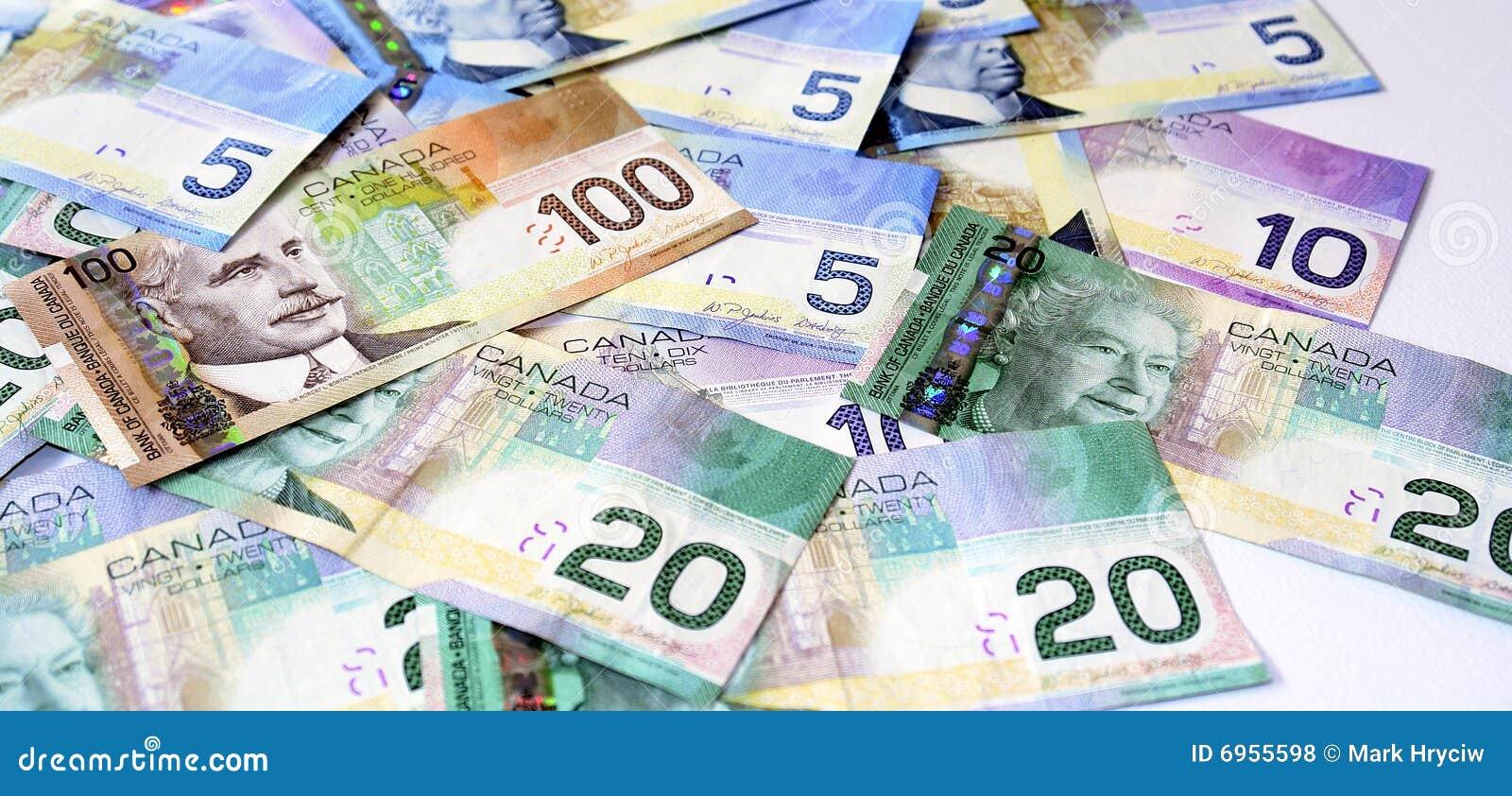 Dólares canadenses do dinheiro