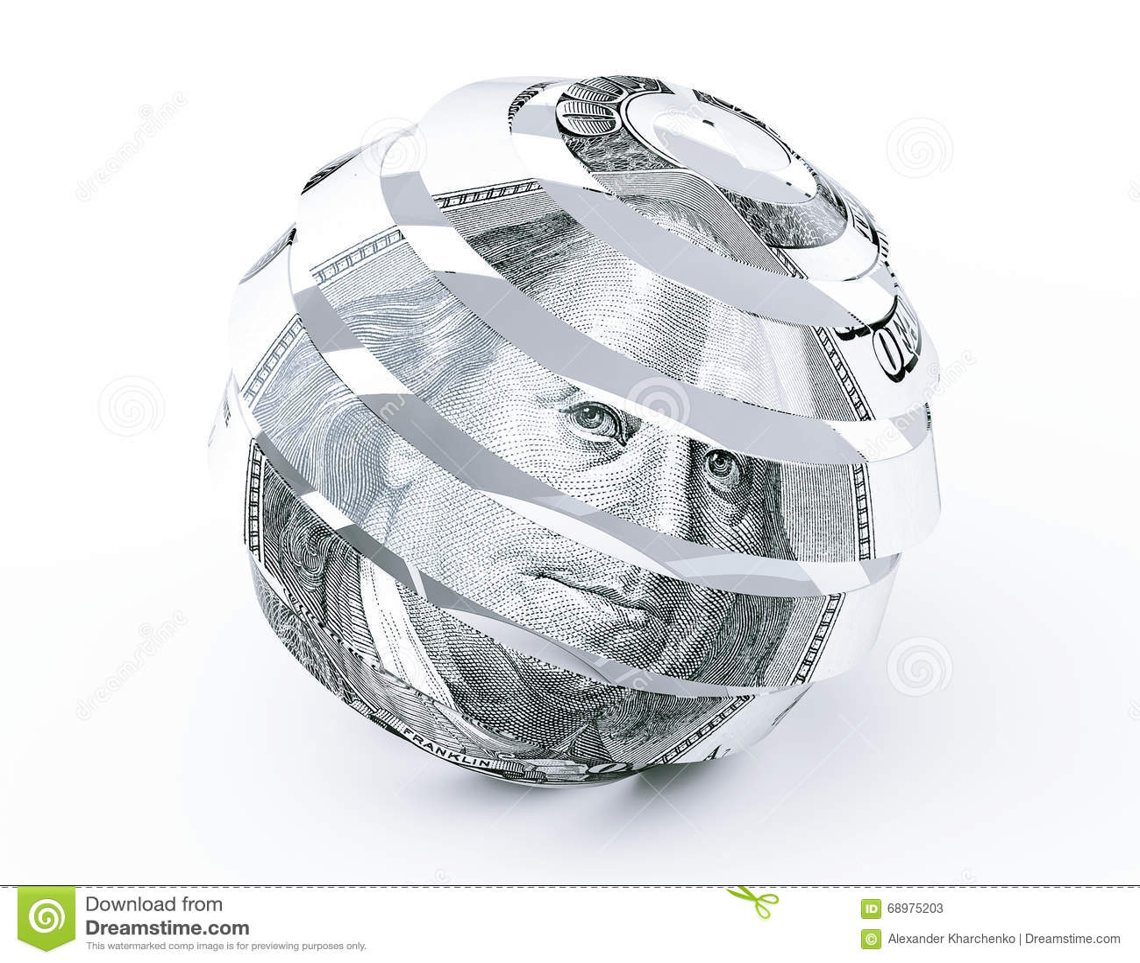 Dólares de Bill como esfera espiral abstracta
