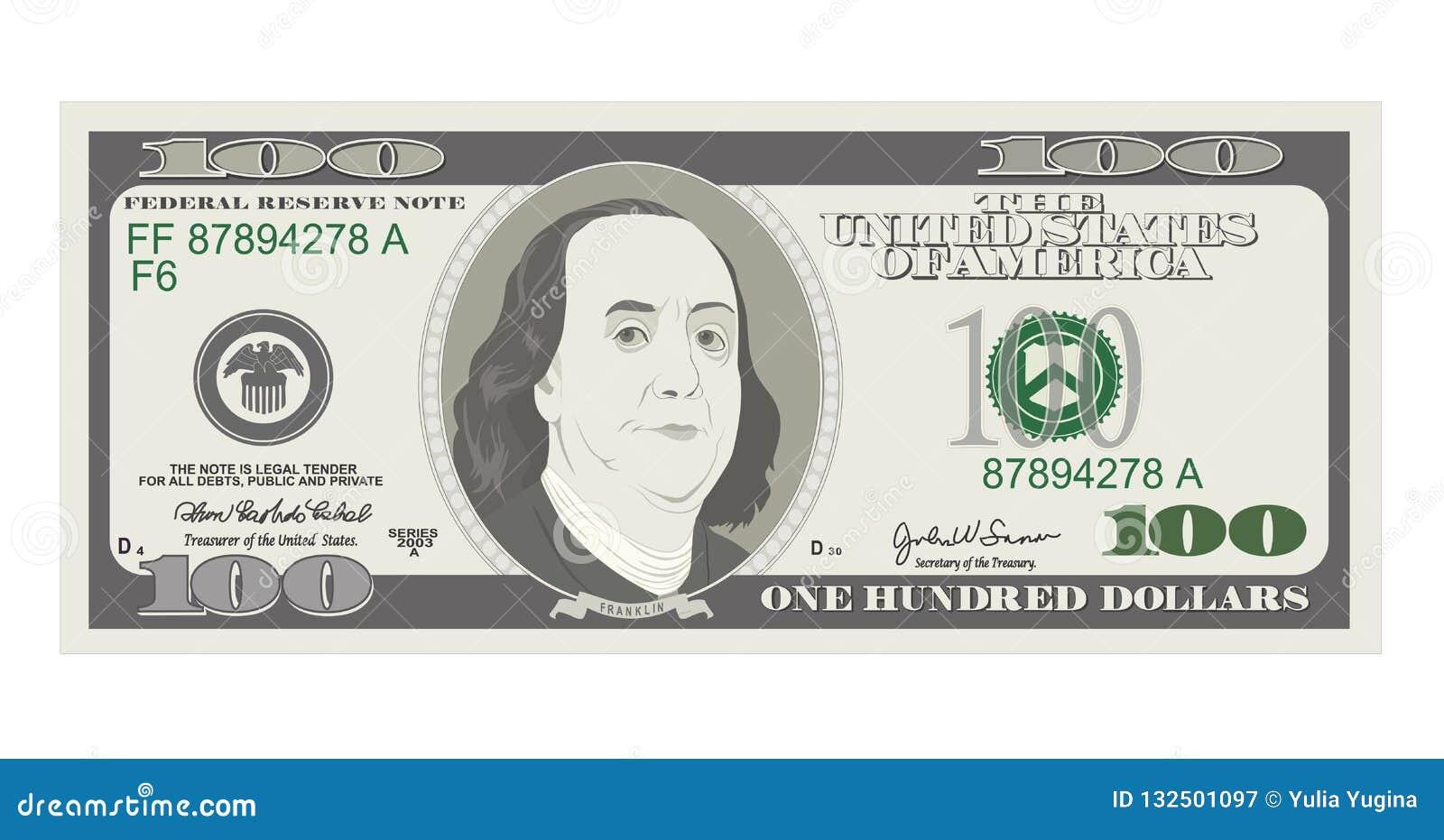 100 dólares de billete de banco, cuenta cientos dólares, presidente americano Benjamin Franklin