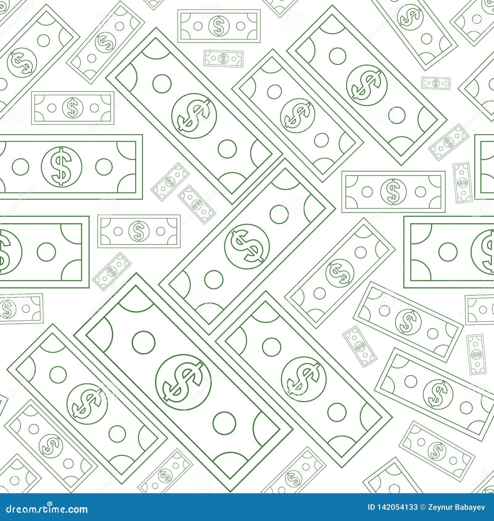 Dólares de textura inconsútil del dinero con la línea estilo del arte Ilustración del vector