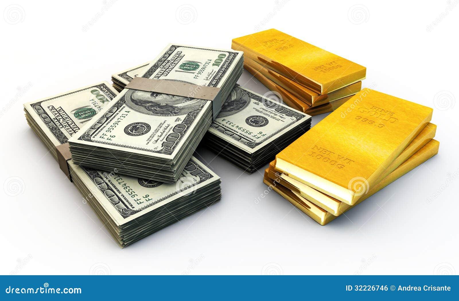 Download Dólares Do Stak E Muitos Lingotes Do Ouro Ilustração Stock - Ilustração de símbolo, brilhante: 32226746
