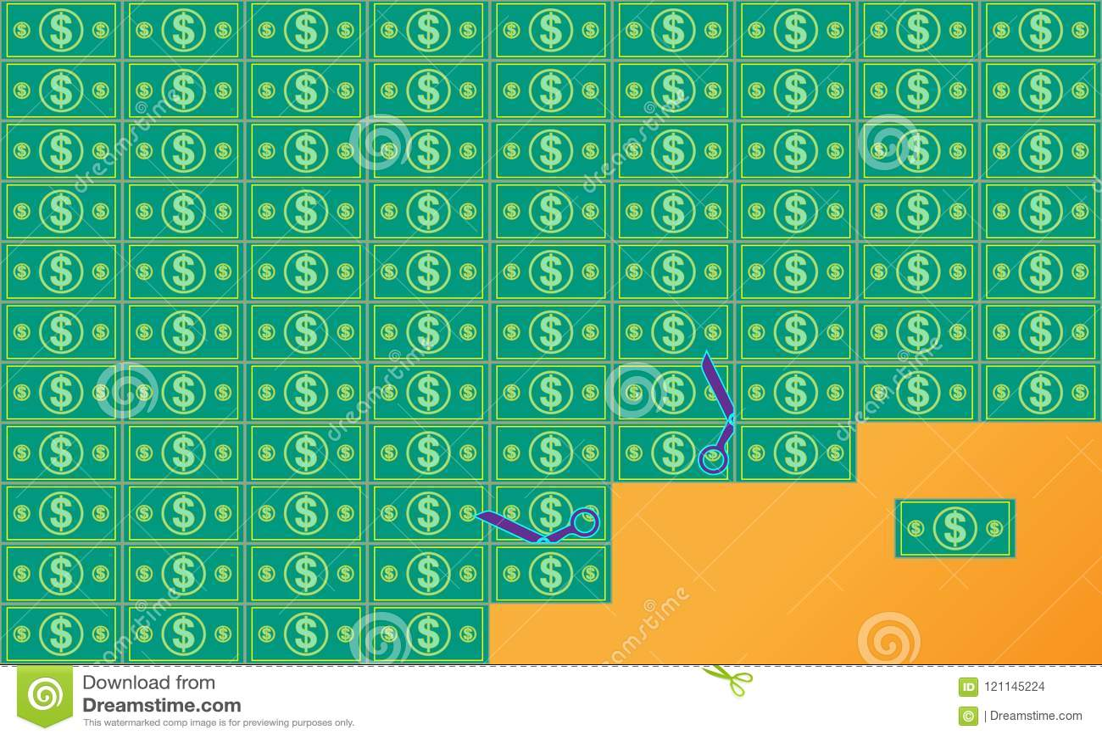 Dólares que cortan planos cualquier denominación de la cuenta Fondo de la riqueza y del éxito Dinero Ilustración del vector