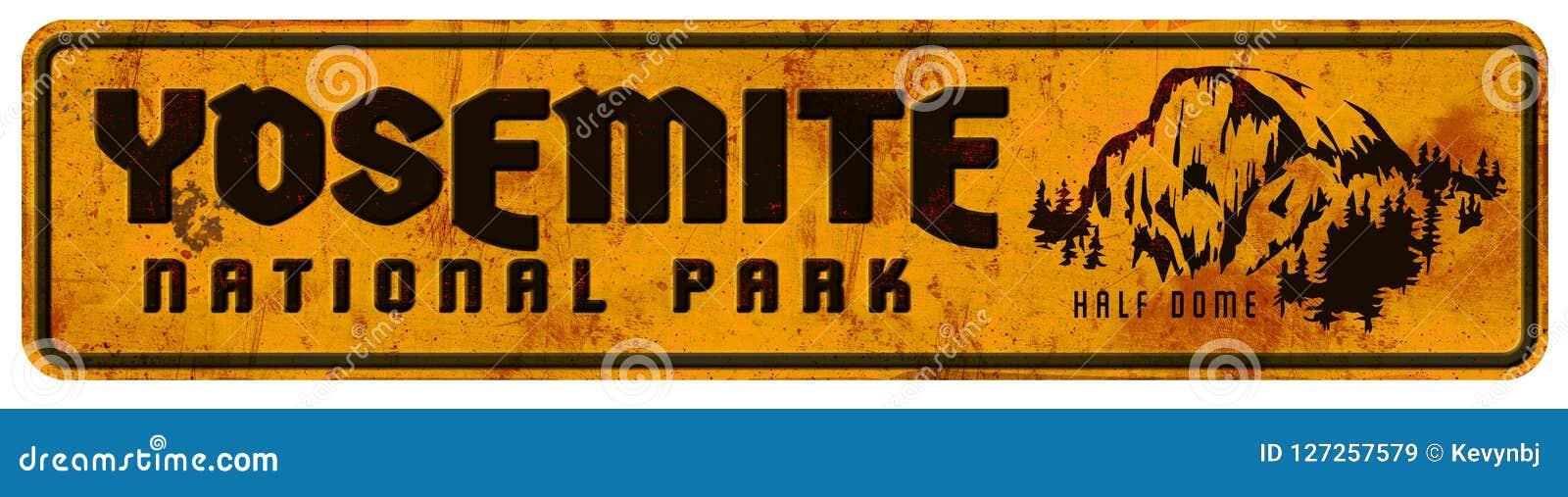 Dôme de rétro vintage grunge de signe de parc national de Yosemite demi