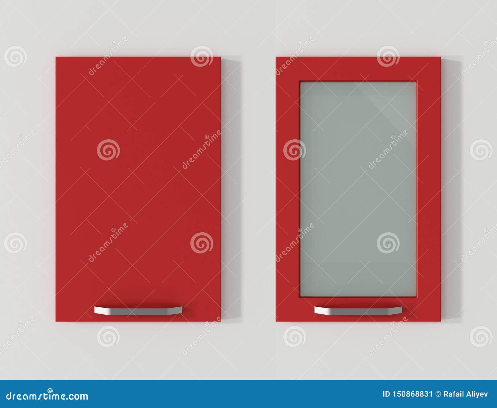 Dörren för köksskåp flammar den röda tolkningen 3D