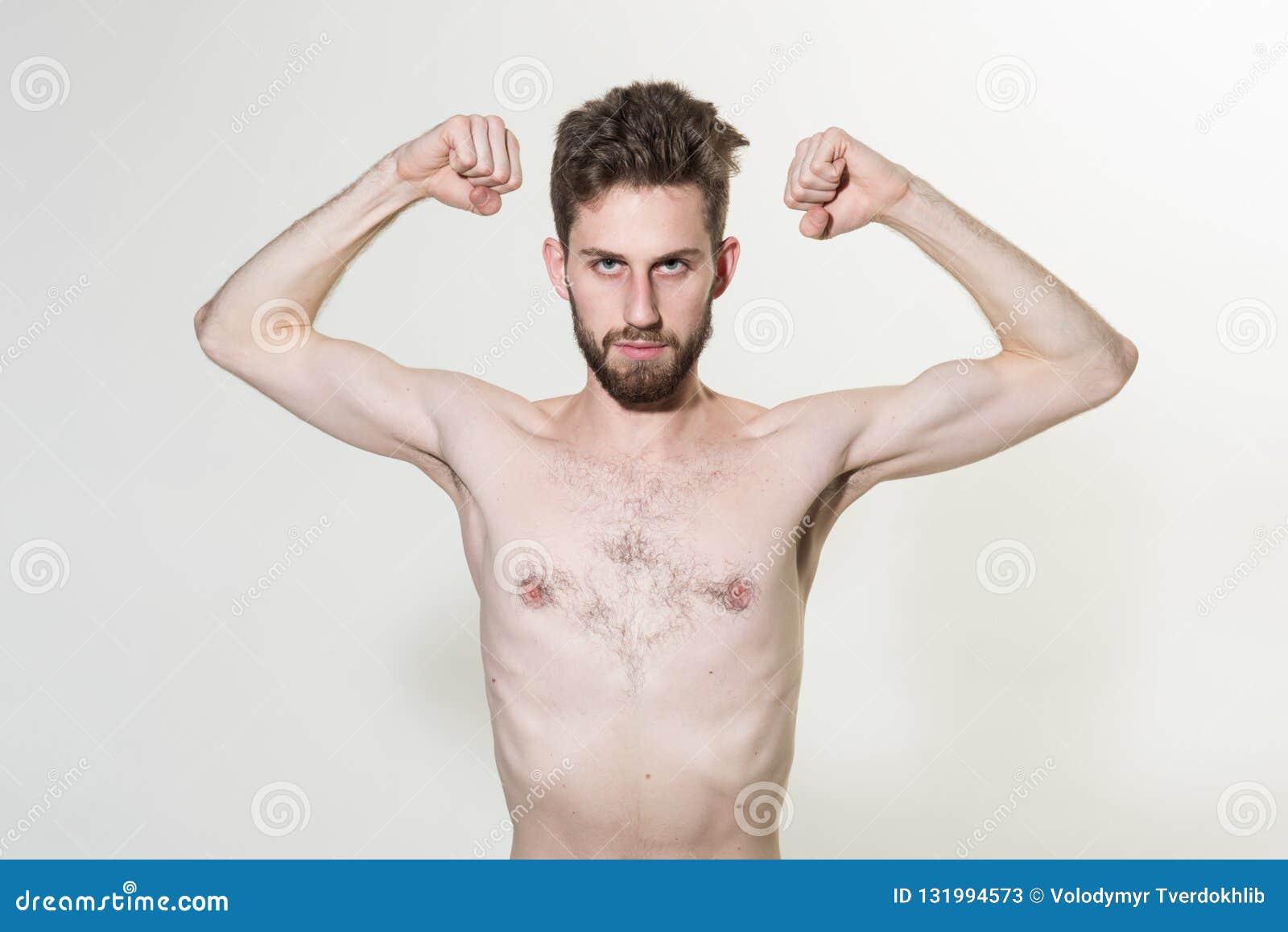 Dünne Arme Des Jungen Mannes Flex Dünner Mann