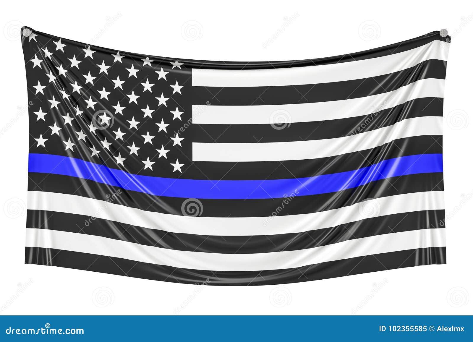Dünne blaue Zeile Schwarze Flagge von USA mit Polizei-Blue Line-Hängen