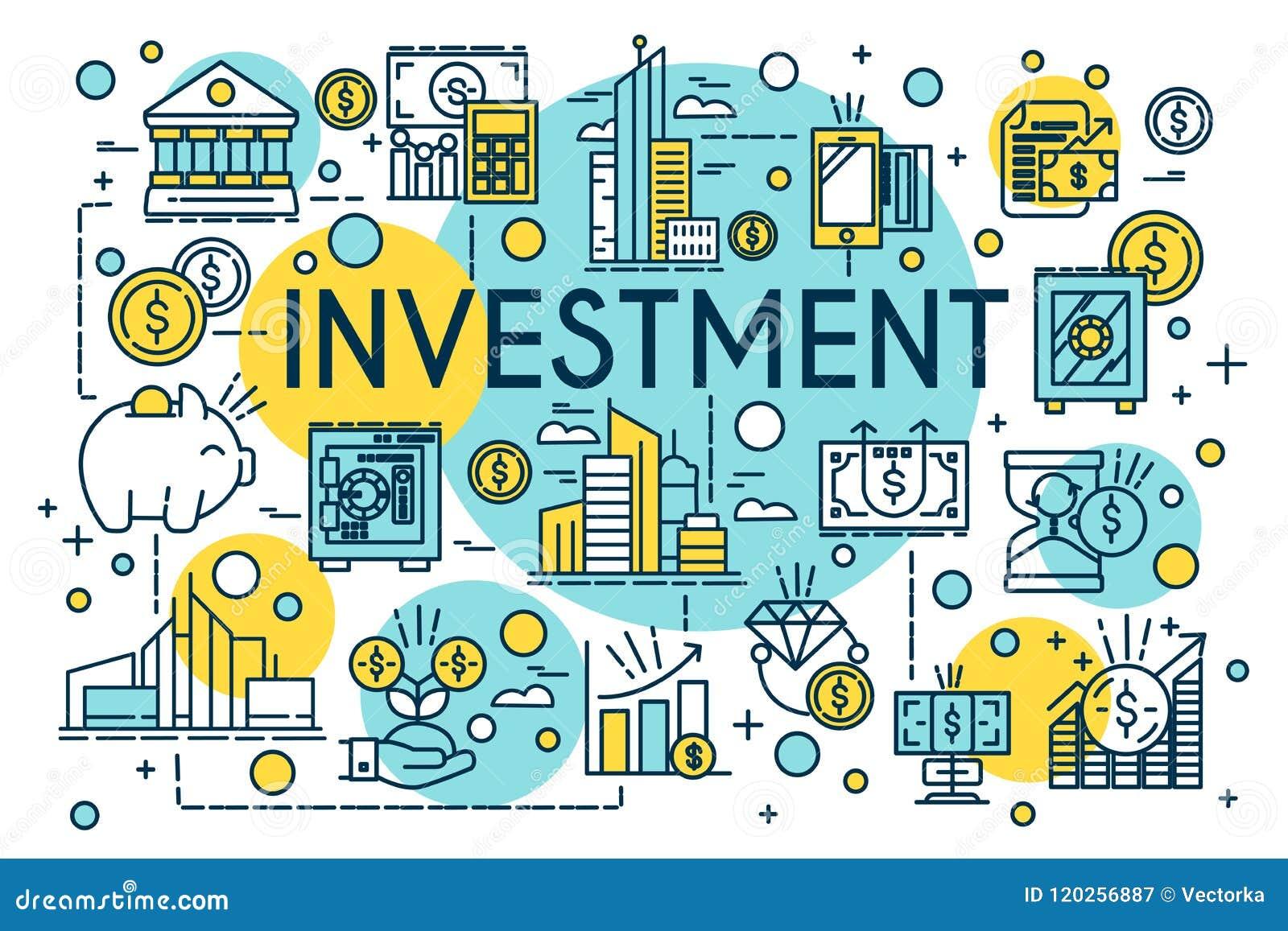 Dünne Linie Art des Investitionskonzeptes Geschäft, Management, Finanzplanung, Finanzierung, Bankwesen Eigentum und Finanzierung