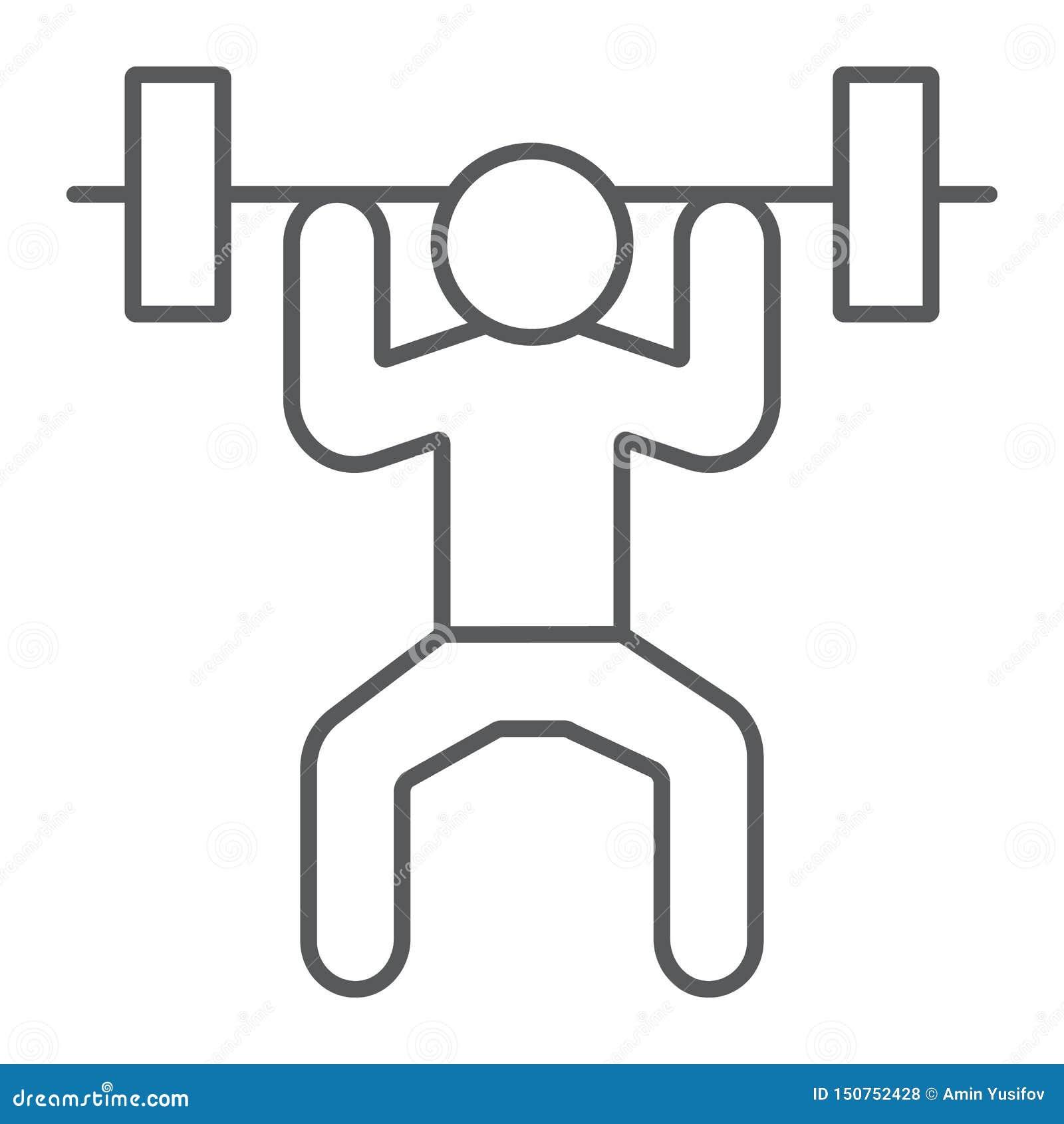 Dünne Linie Ikone des Weightlifter, Sport und Bodybuilding, Gewichthebenzeichen, Vektorgrafik, ein lineares Muster auf einem weiß