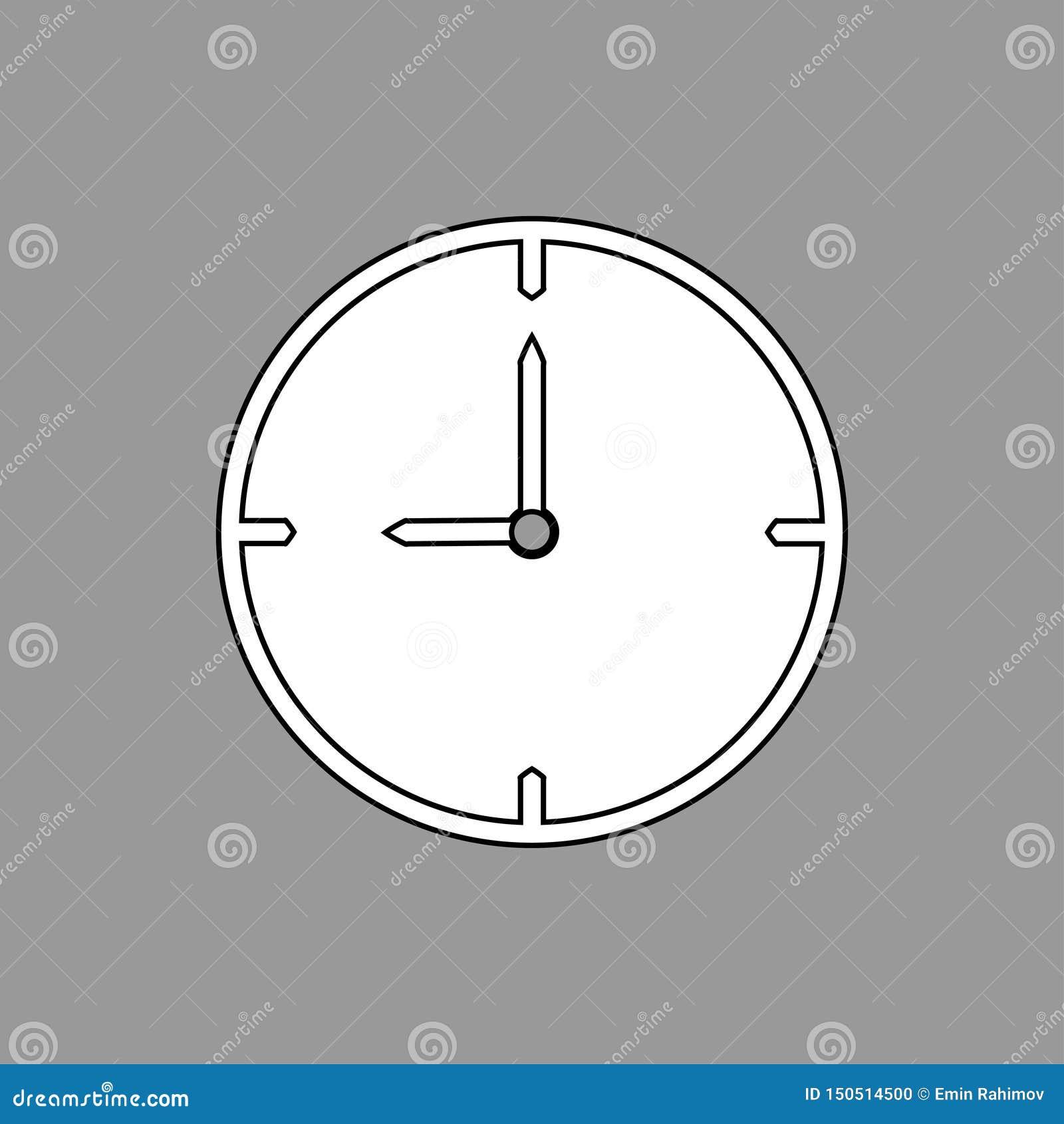 Dünnes Schwarzweiss- Streckentaktikone 9 Uhr auf grauem Hintergrund - Vektorillustration