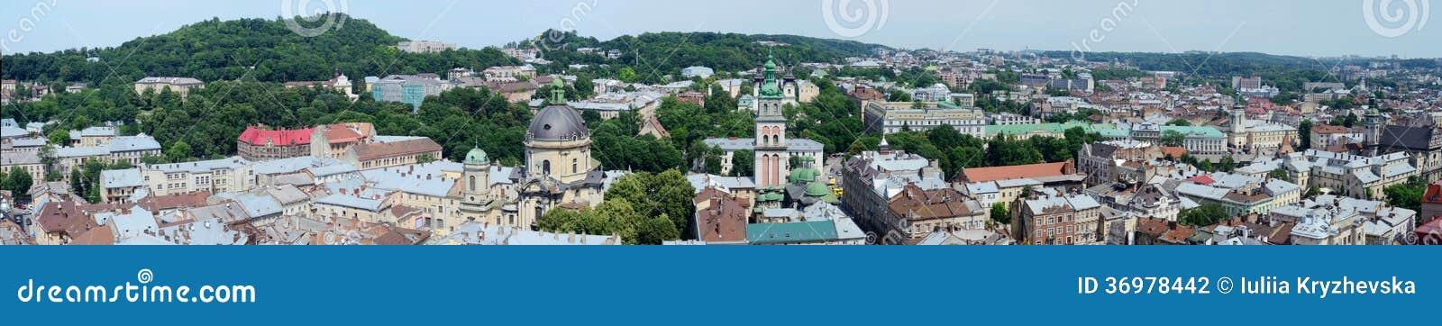 Długa panorama Lvov stary miasteczko, Zachodni Ukraina (Lemberg)