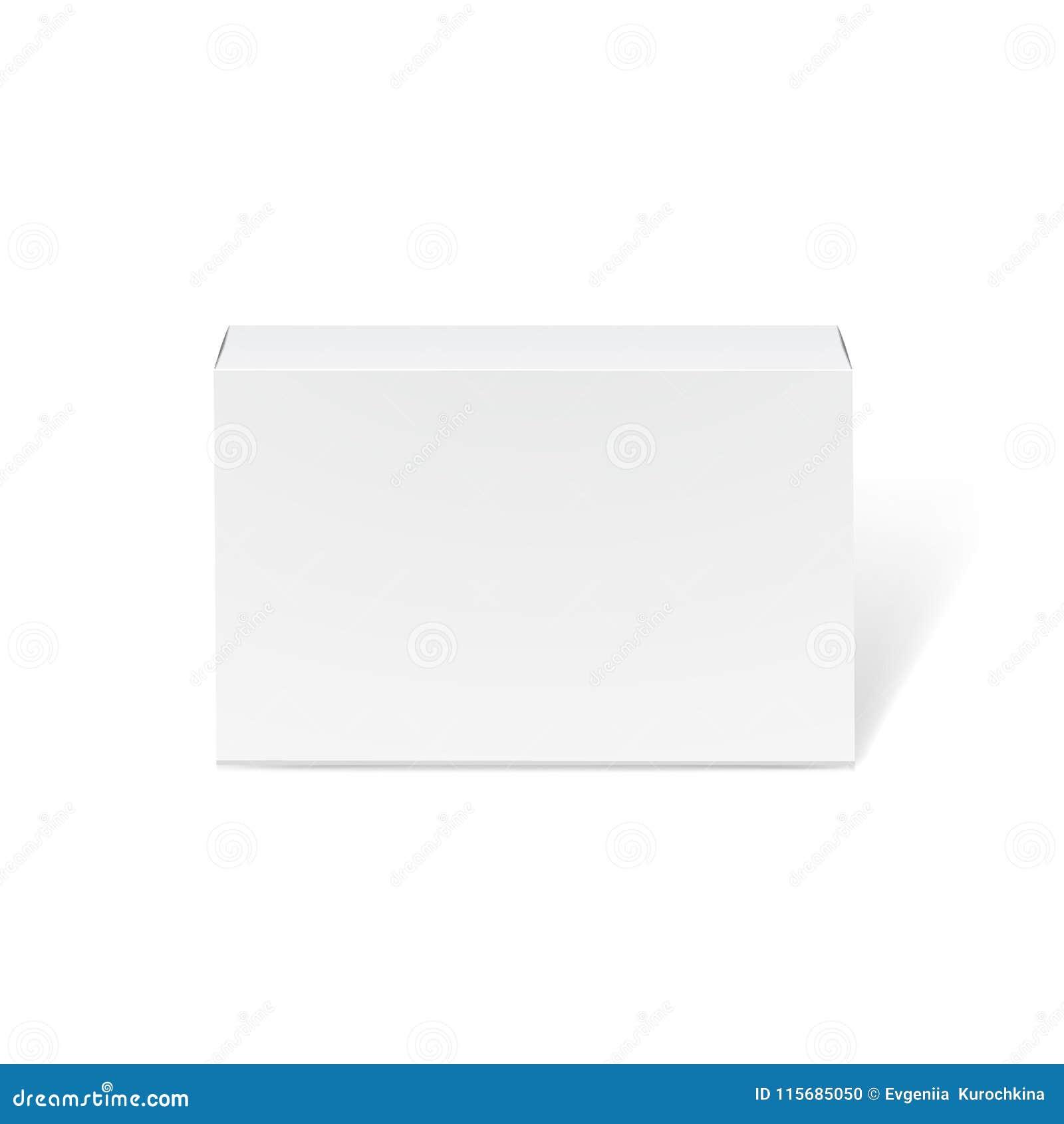 Długi biały kartonu mockup - frontowy widok Realistyczny karton, zbiornik, pakuje Egzamin próbny W górę szablonu Przygotowywające