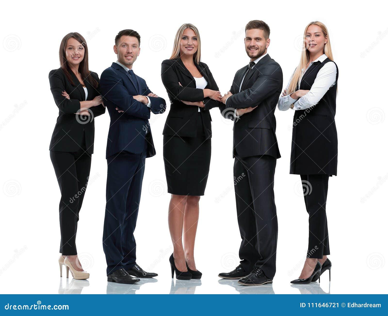 Długi portret grupa ludzie biznesu, odizolowywająca na bielu