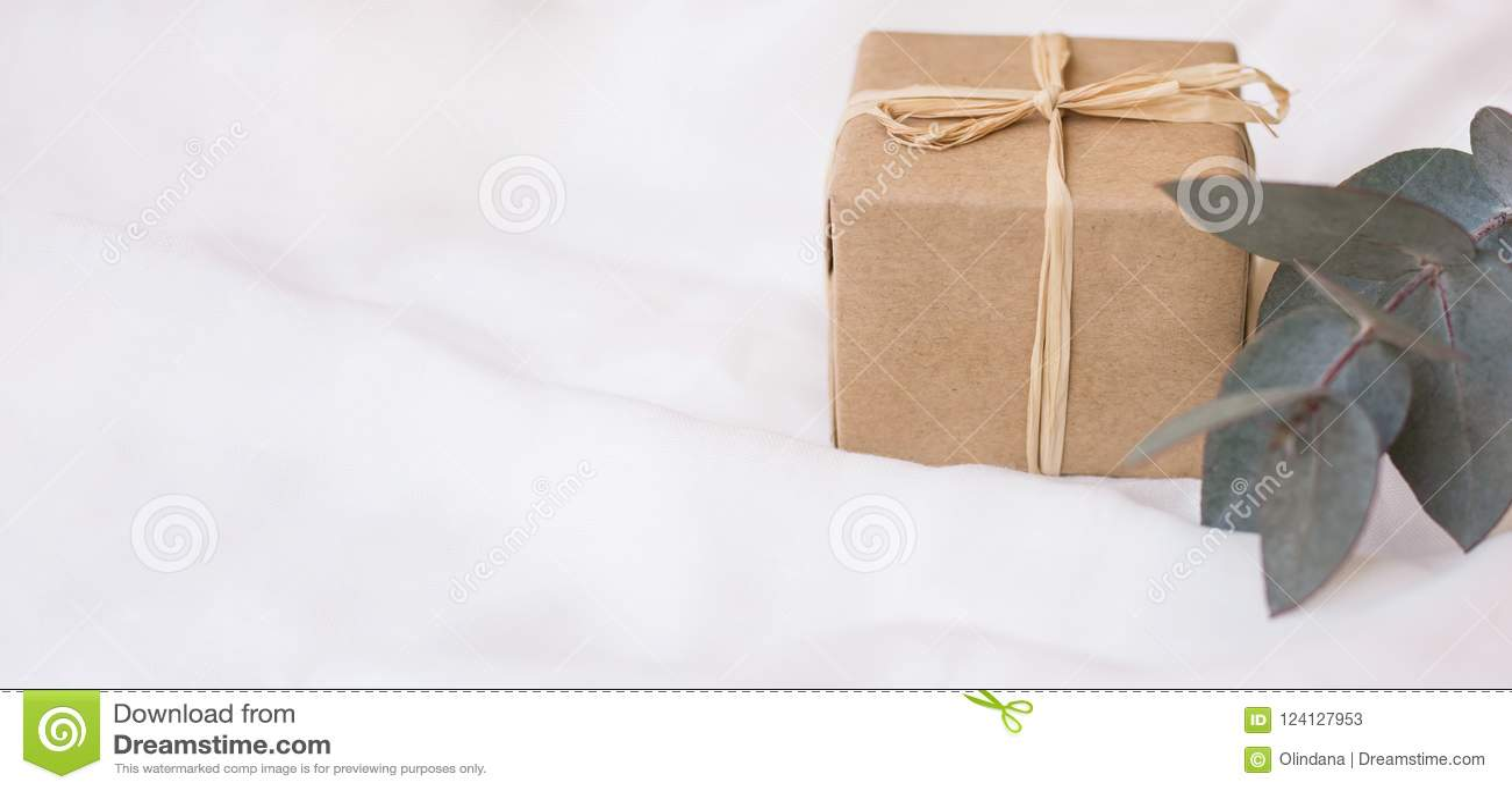 Długi sztandaru chodnikowa prezenta pudełko w rzemiosło papieru gałąź srebnego dolara eukaliptus na białej bieliźnianej tkaninie