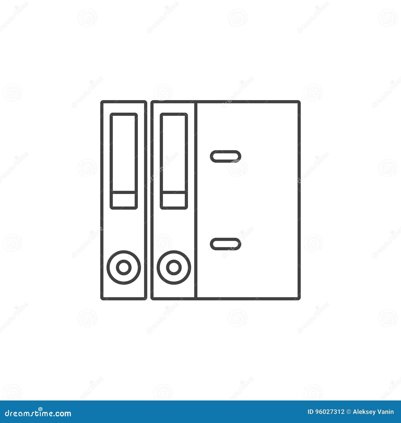 Dźwigniowi Łękowaci segregatory cienieją kreskową ikonę, papierowy falcówka konturu wektor