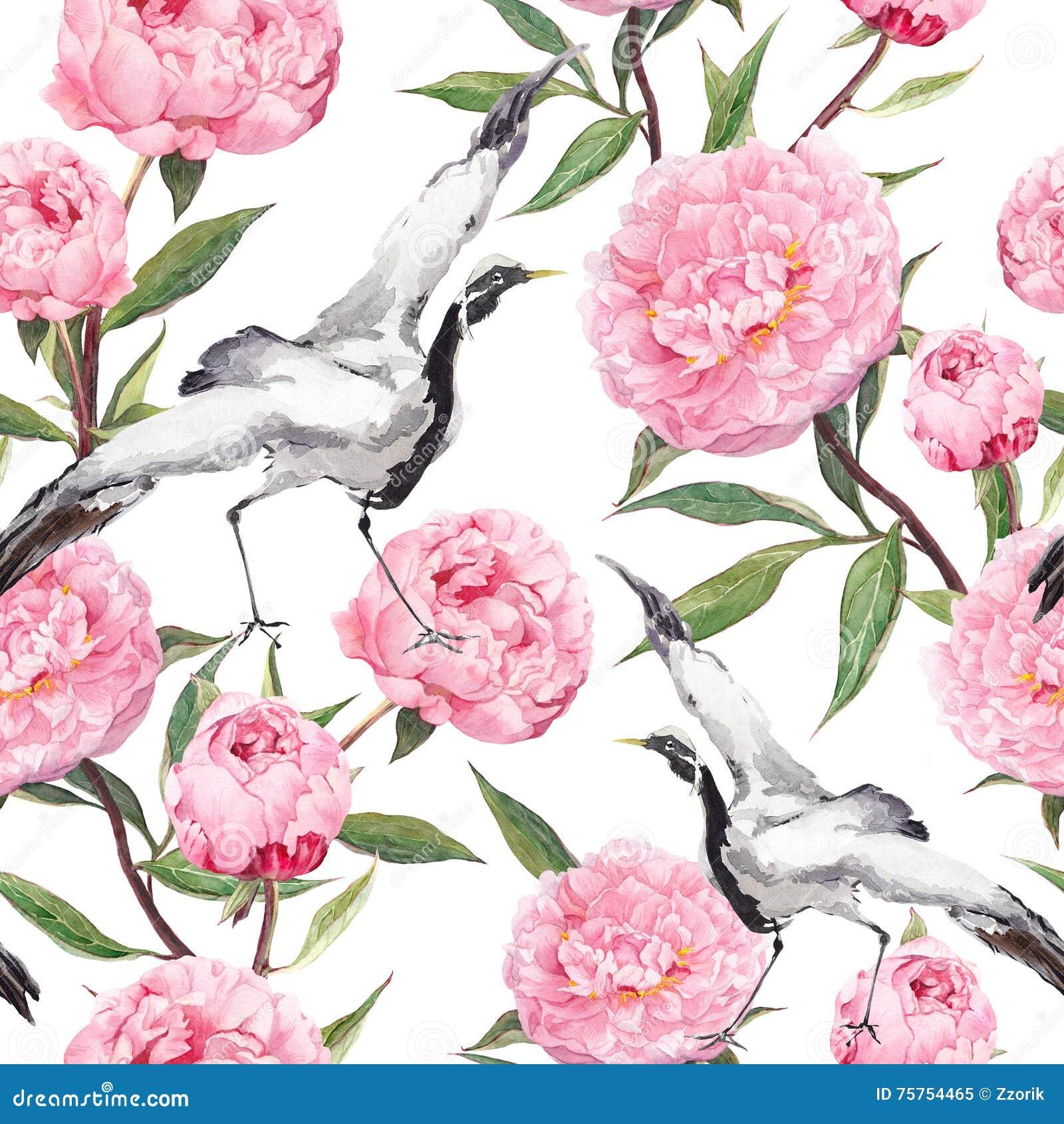 Dźwigowi ptaki tanowie, peonia kwiaty Kwiecisty wielostrzałowy azjata wzór akwarela