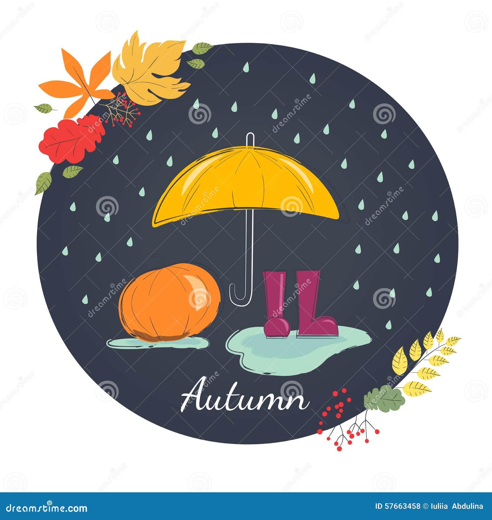 Dżdżysta jesień z gumowymi butami Sezon deszcze