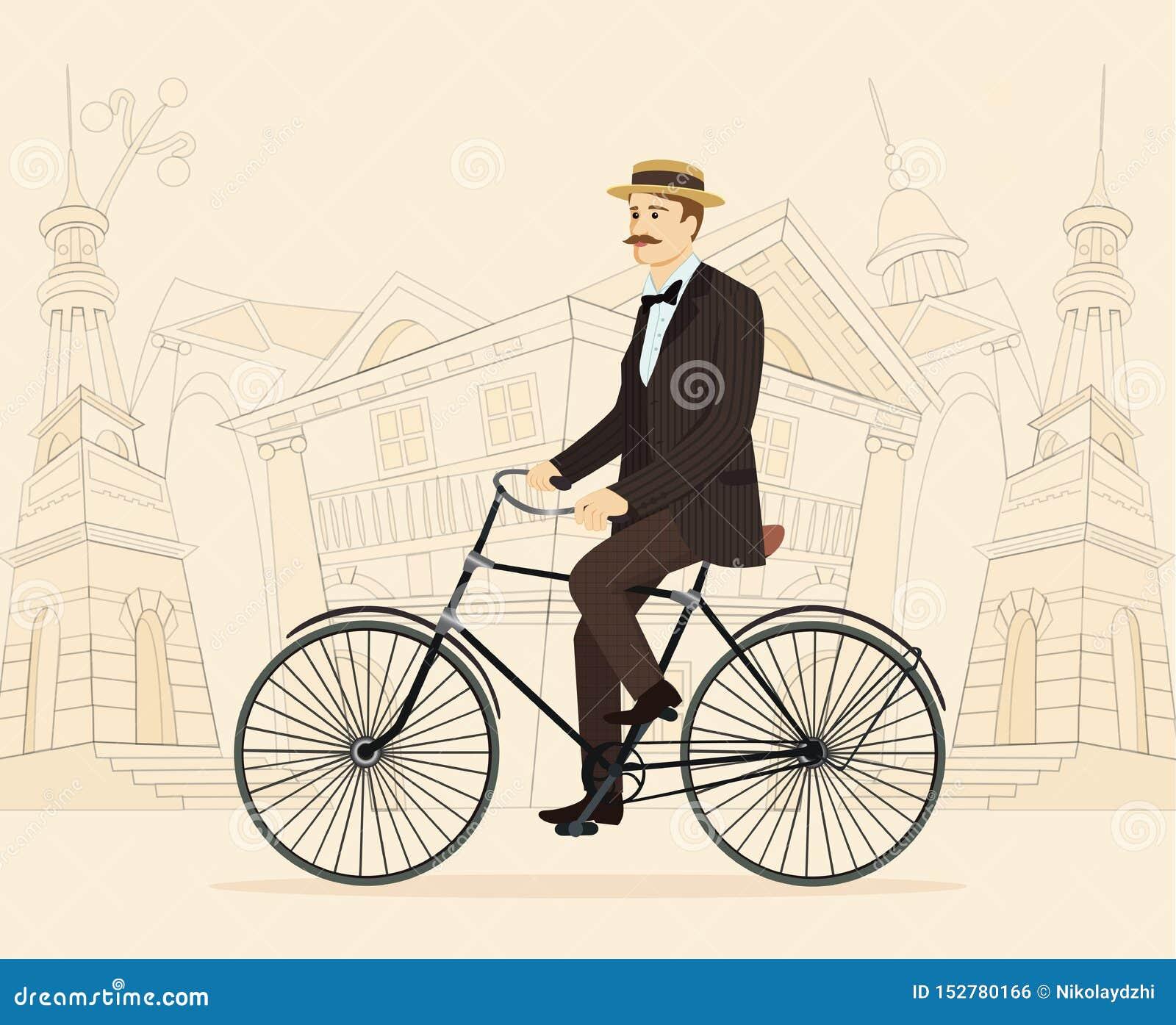 Dżentelmen na retro rocznika starym bicyklu na starym miasta tle