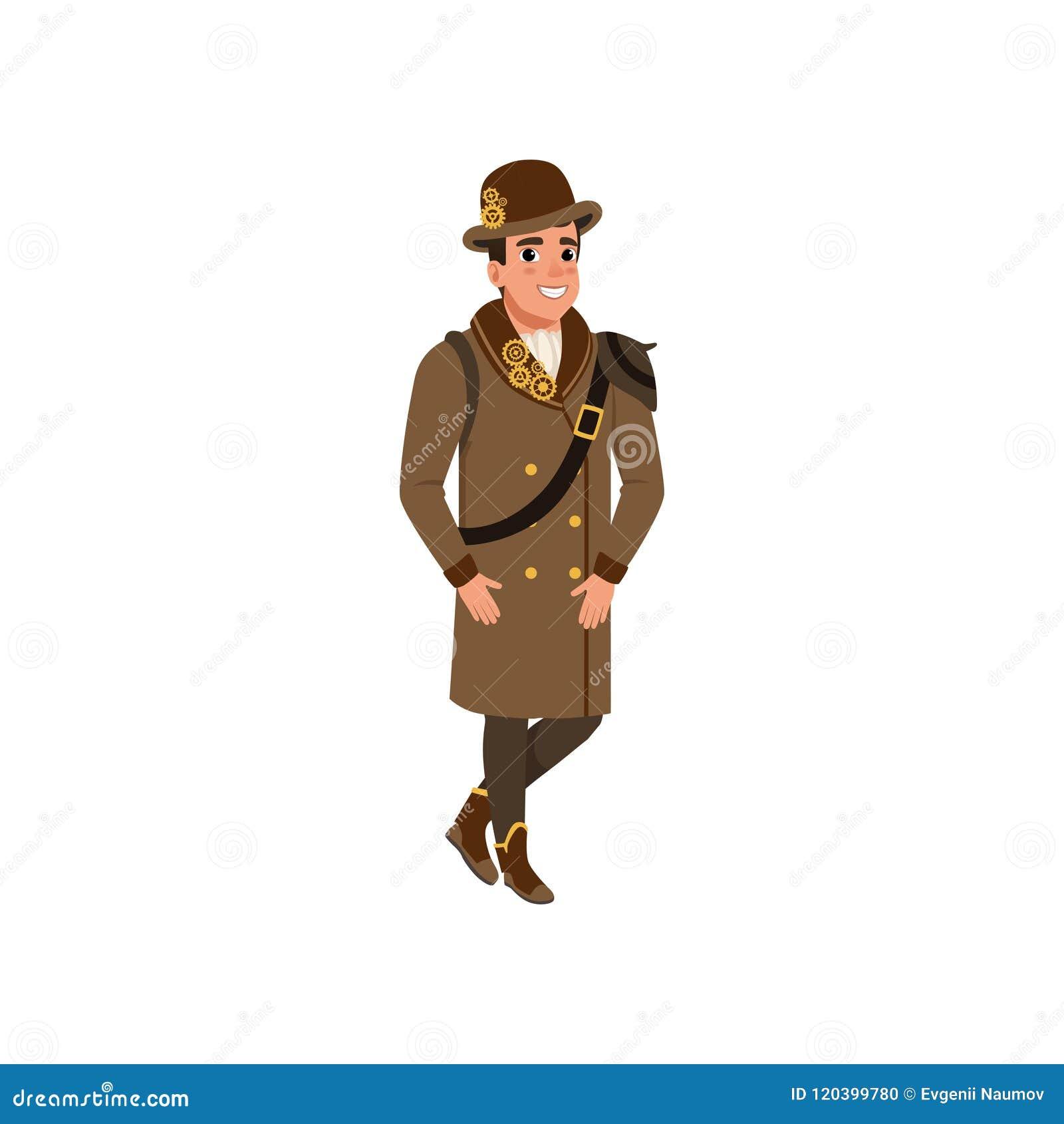 Dżentelmen w steampunk stroju Młody człowiek jest ubranym koszula, długiego brown żakiet, buty i dęciaka kapelusz z przekładniami
