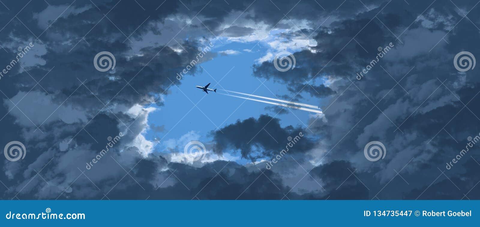 Dżetowy samolot zobaczy przez otwarcia w ciemnienie chmurach gdy ono lata przez niebieskie niebo inaczej