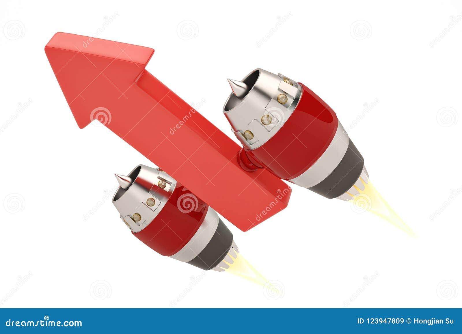 Dżetowy silnik na czerwonych strzała r pojęcie ilustracja 3 d