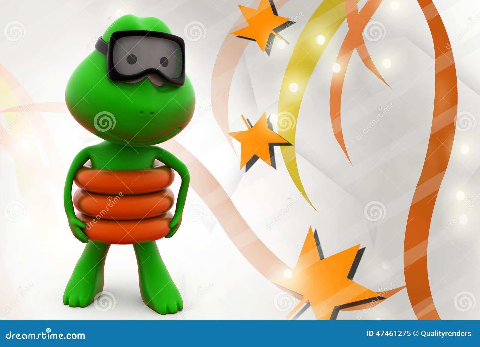 3d青蛙游泳例证 库存例证
