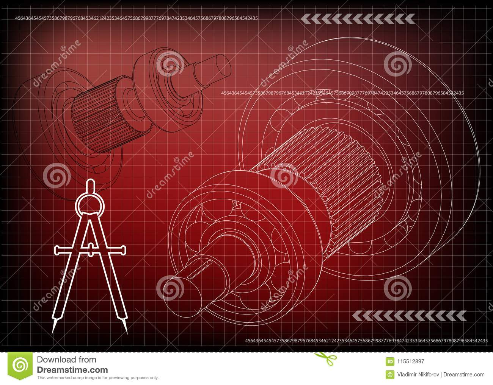 3d一个钝齿轮的模型在红色的
