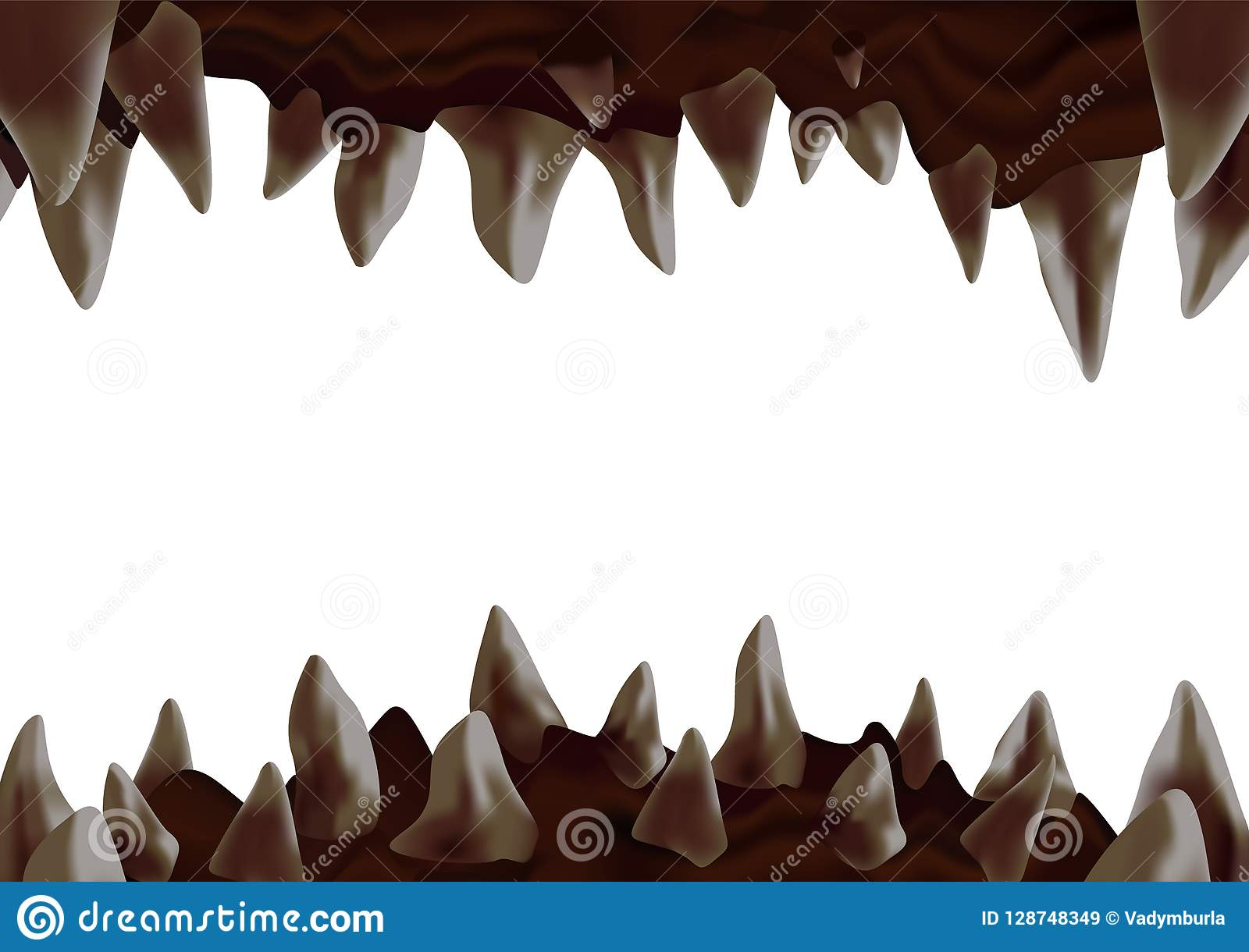 3d与准备好弯曲的锋利的牙齿的妖怪开放嘴咬住