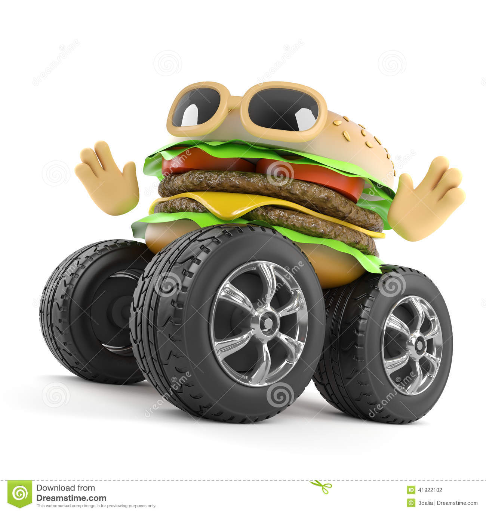 3d与巨型轮子的汉堡牛排